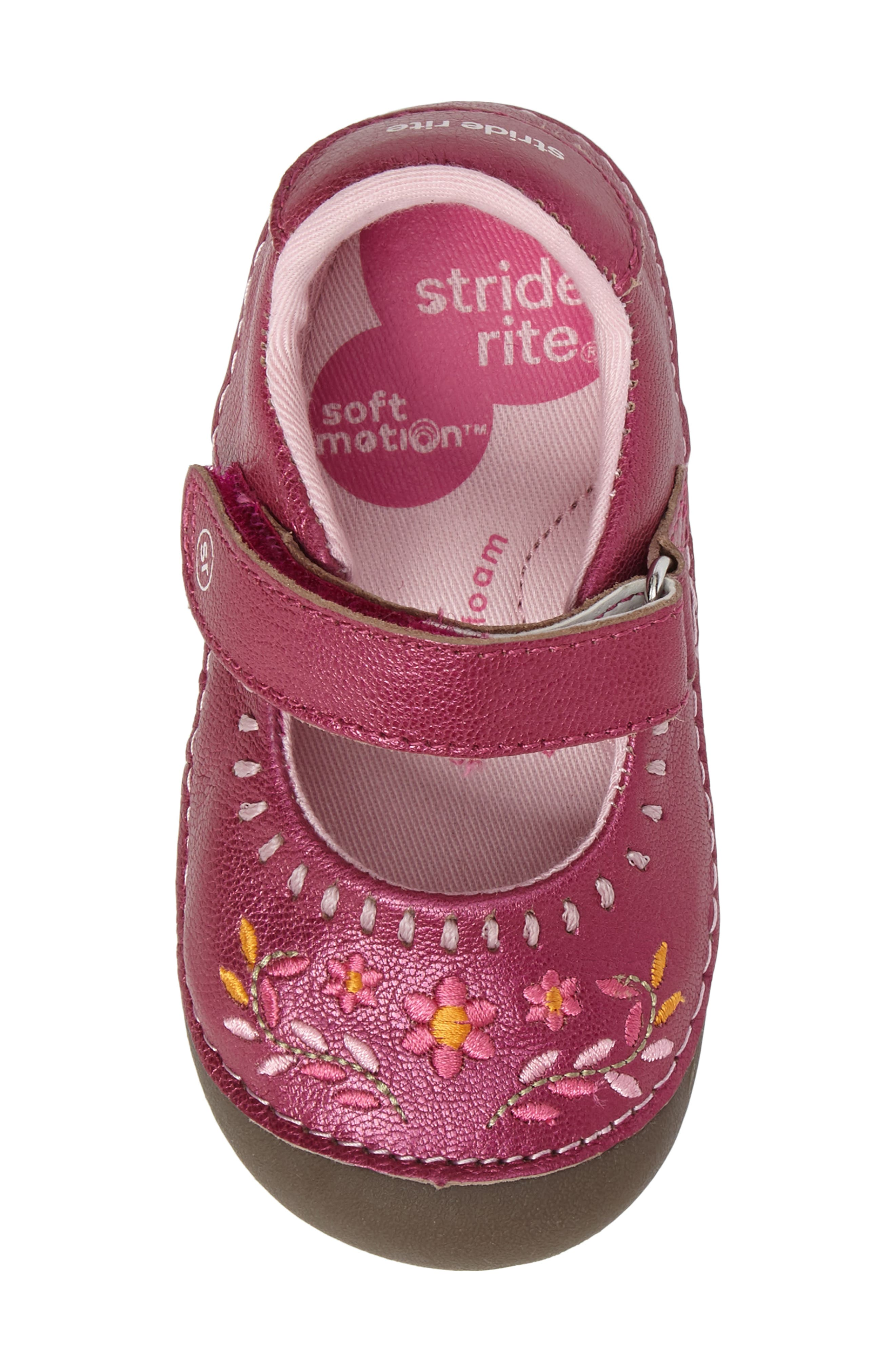 Alternate Image 5  - Stride Rite Atley Flower Embroidered Mary Jane (Baby & Walker)