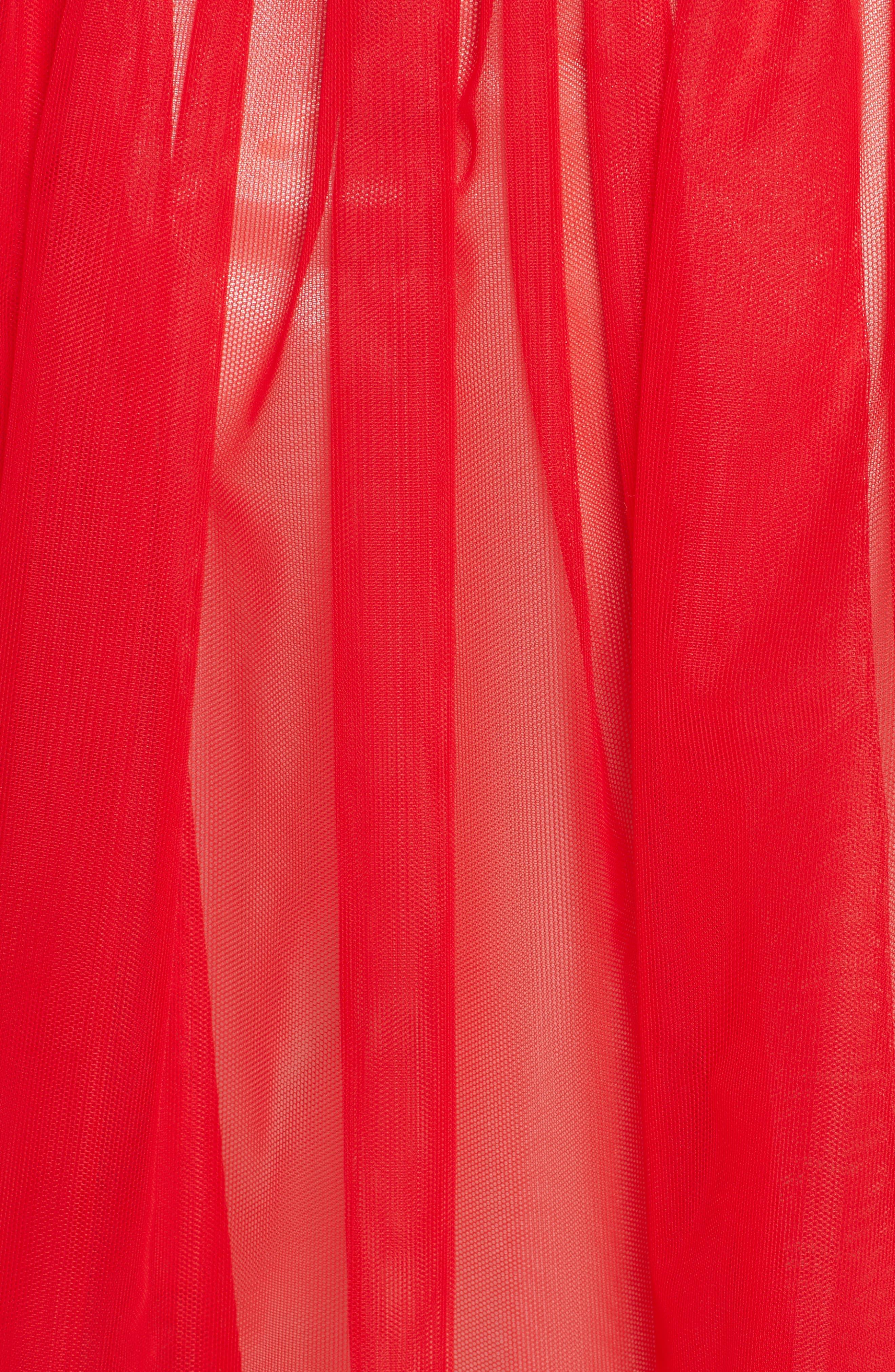 Marabou Trim Smock Waist Tulle Skirt,                             Alternate thumbnail 3, color,                             Red