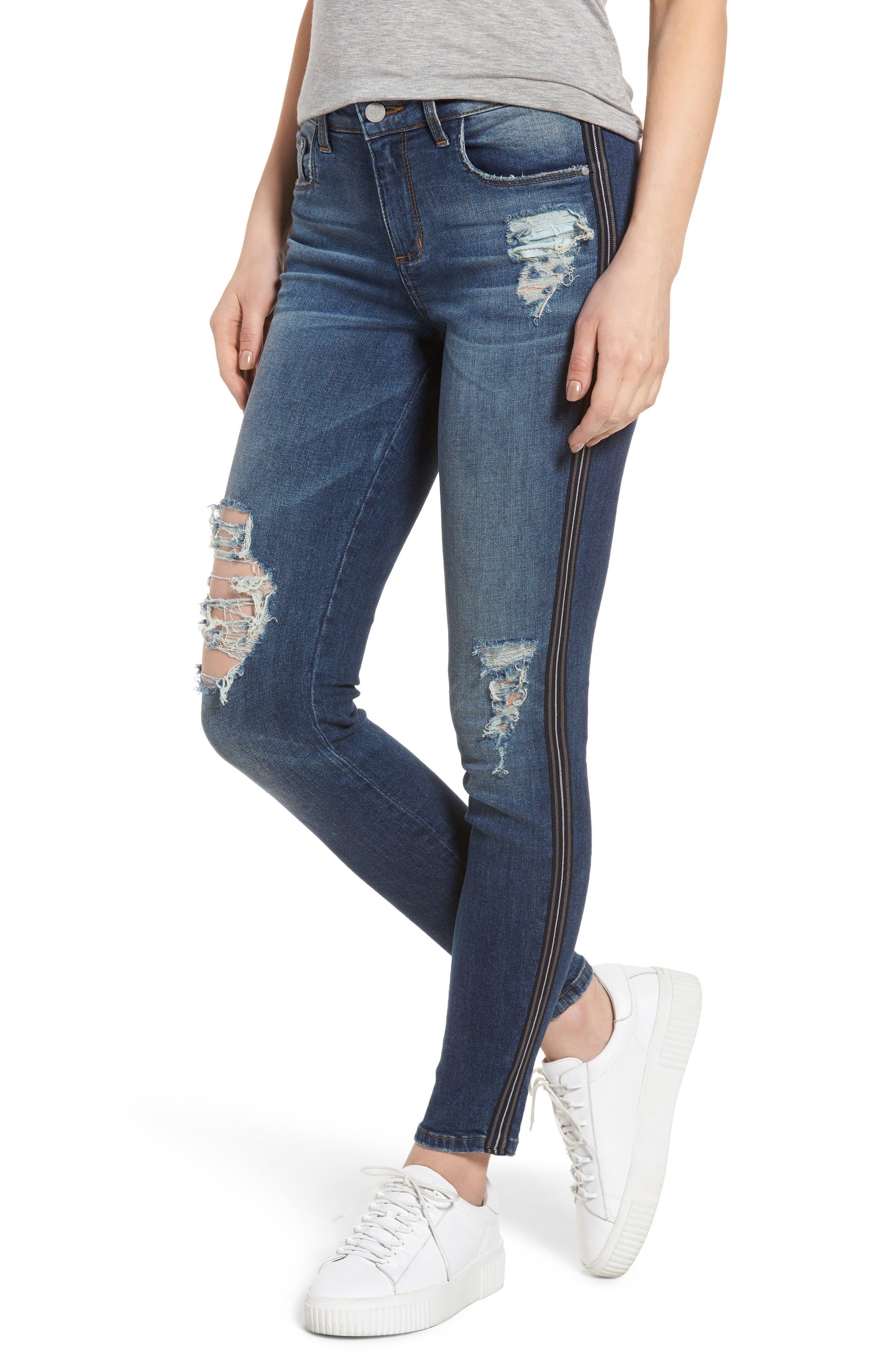 Tuxedo Stripe Ripped Skinny Jeans,                             Main thumbnail 1, color,                             Medium Wash