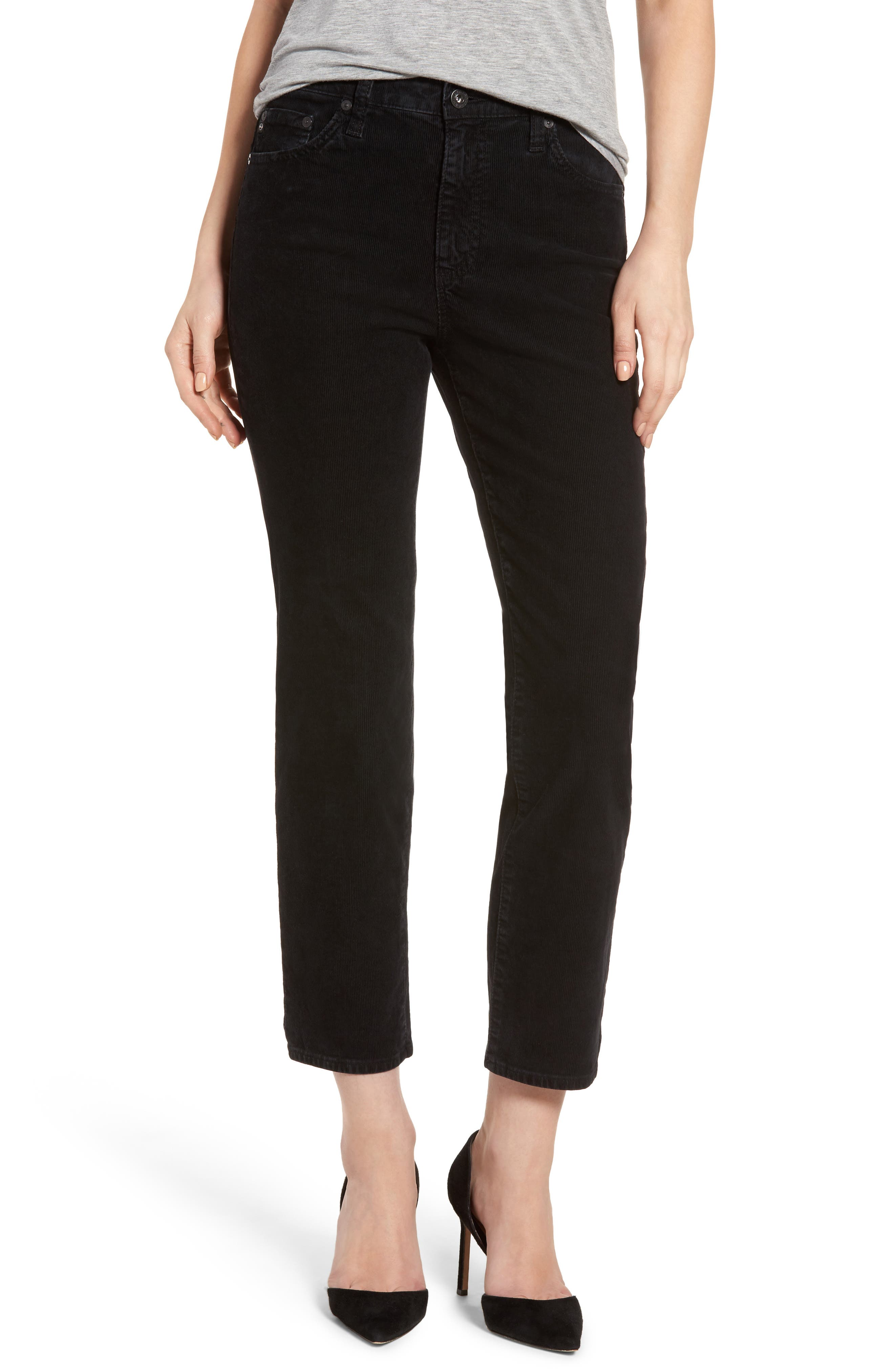 Isabelle High Waist Corduroy Jeans,                         Main,                         color, Immersed Black
