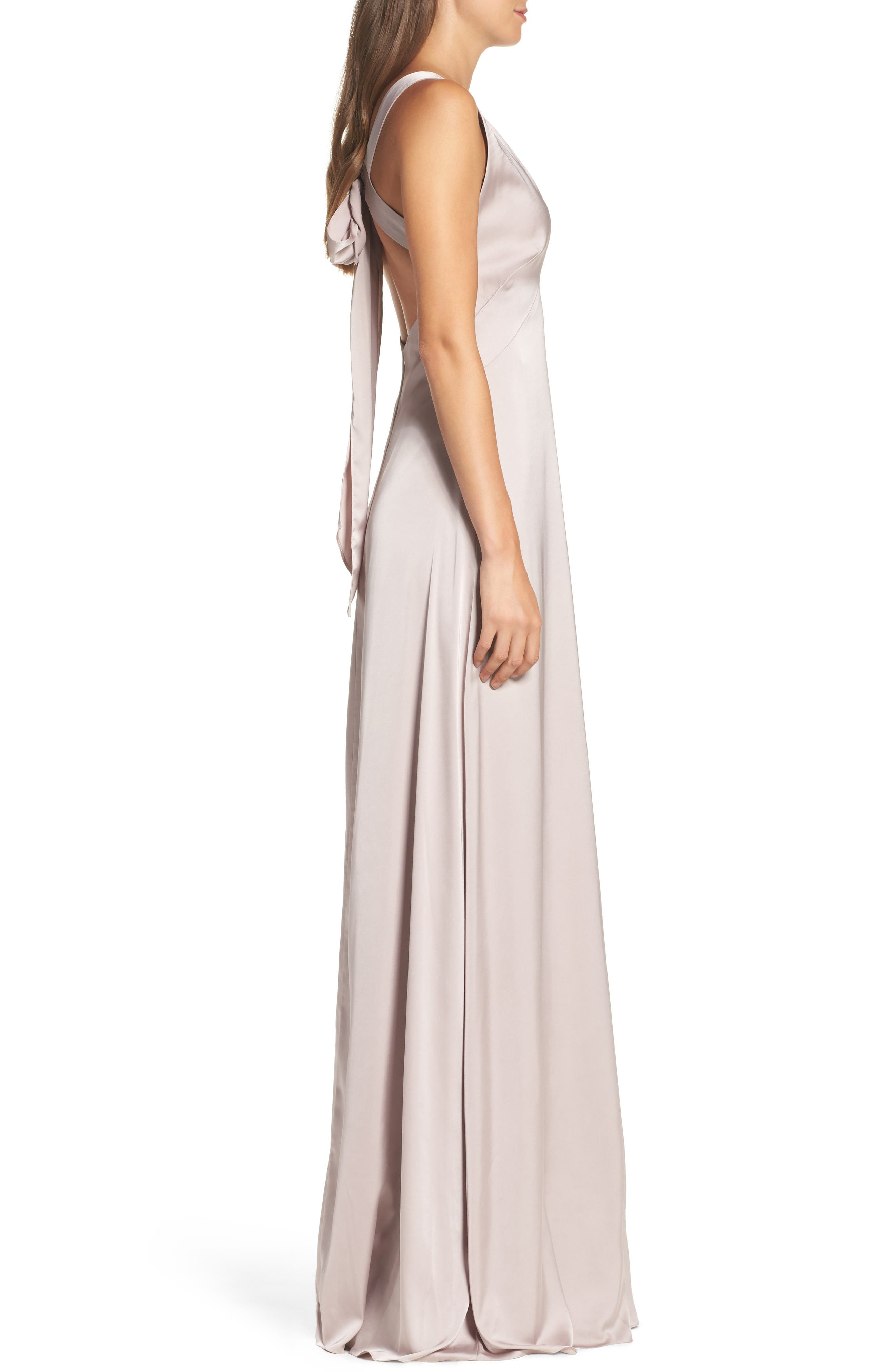 Alternate Image 4  - Monique Lhuillier Bridesmaids Dasha Tie Back Sateen Gown
