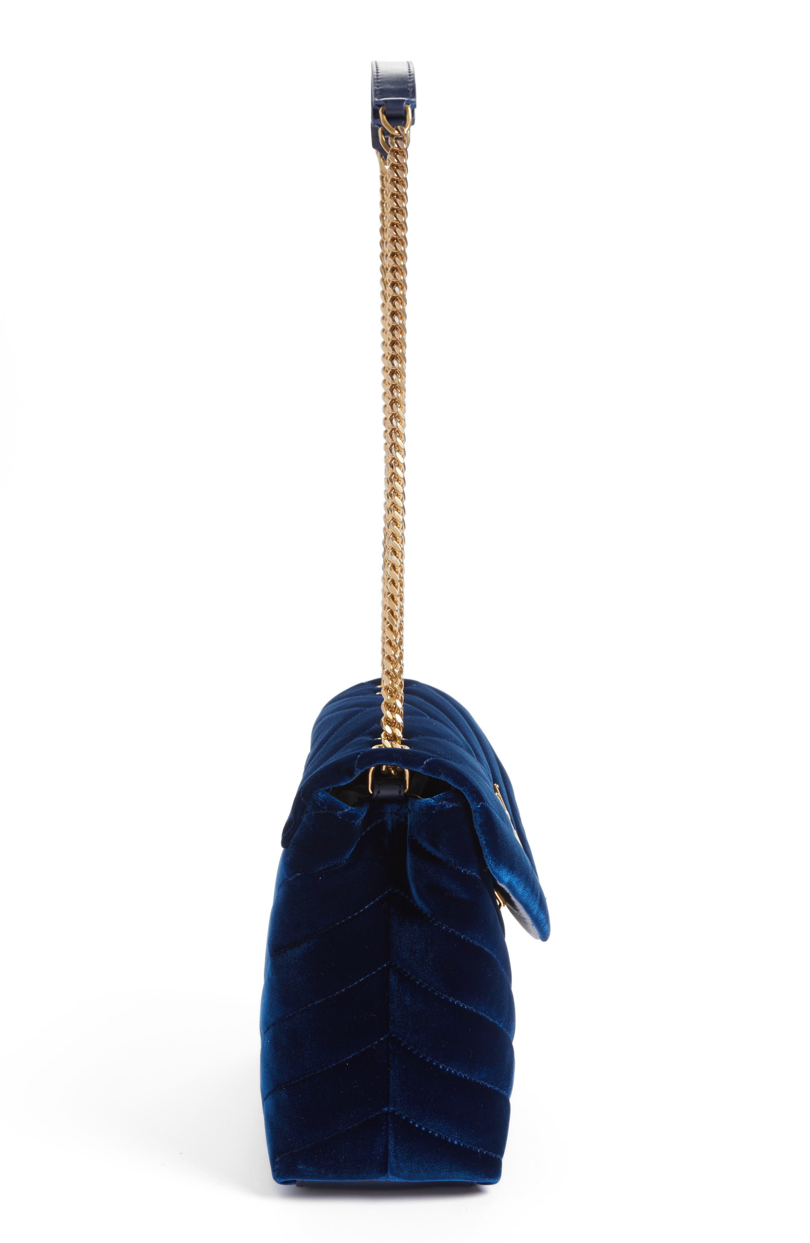 Alternate Image 5  - Saint Laurent Small LouLou Matelassé Velour Shoulder Bag