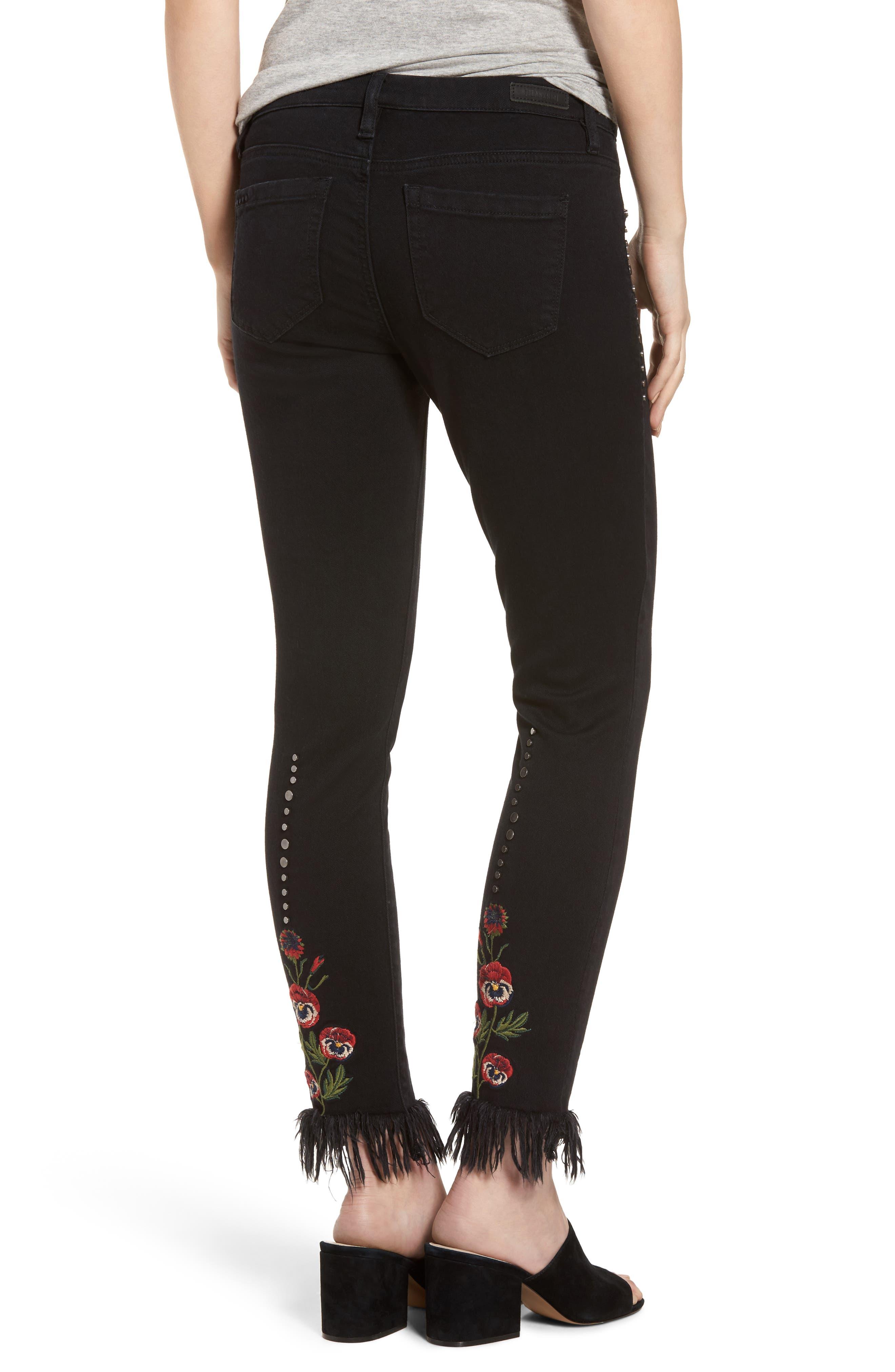Embroidered & Studded Skinny Jeans,                             Alternate thumbnail 3, color,                             Hidden Talent Black