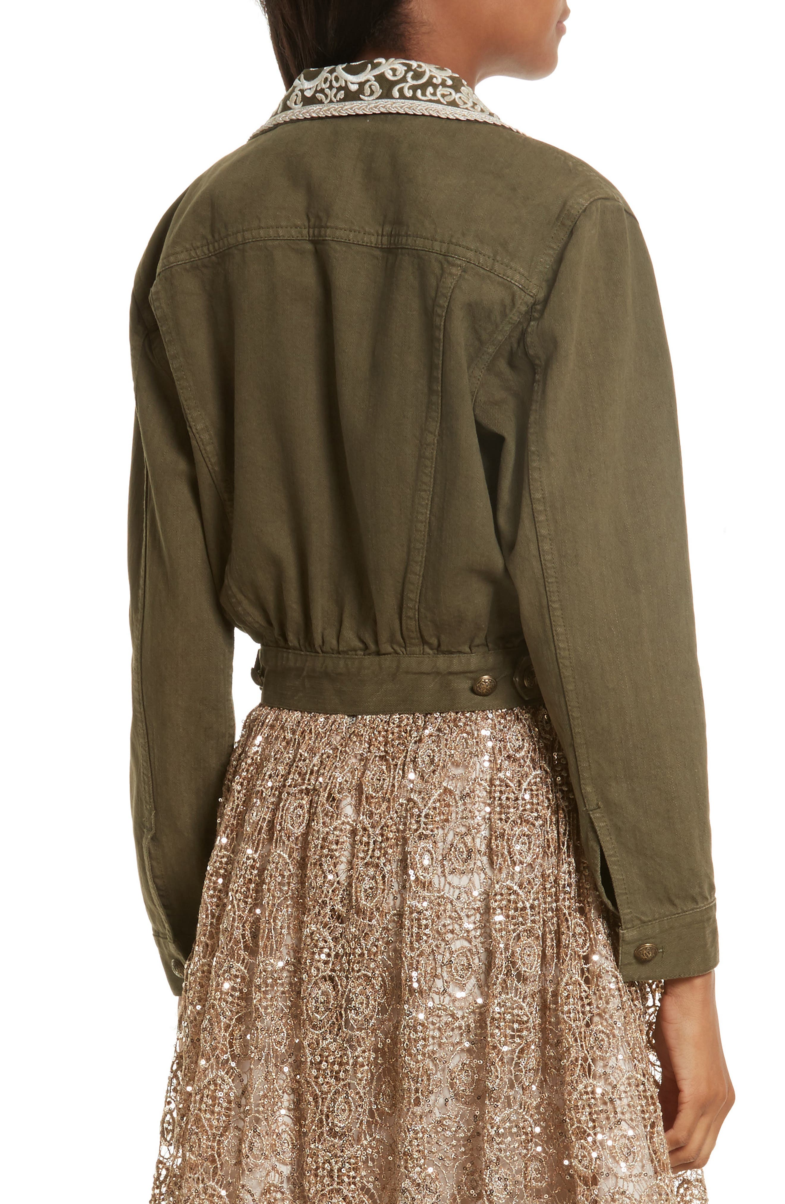 Chloe Embellished Crop Military Jacket,                             Alternate thumbnail 4, color,                             Army