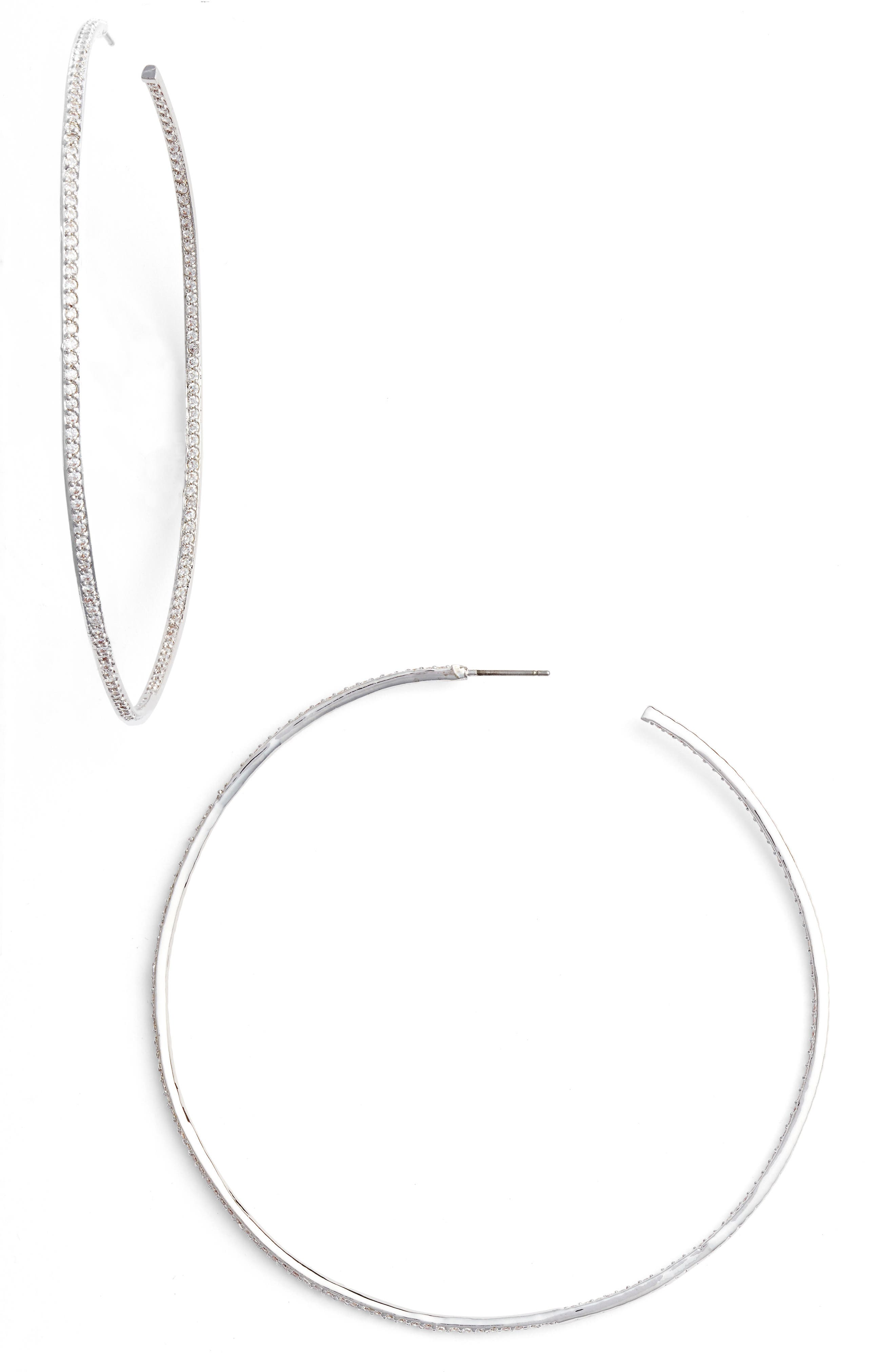 CZ by Kenneth Jay Lane Skinny Inside Out Hoop Earrings