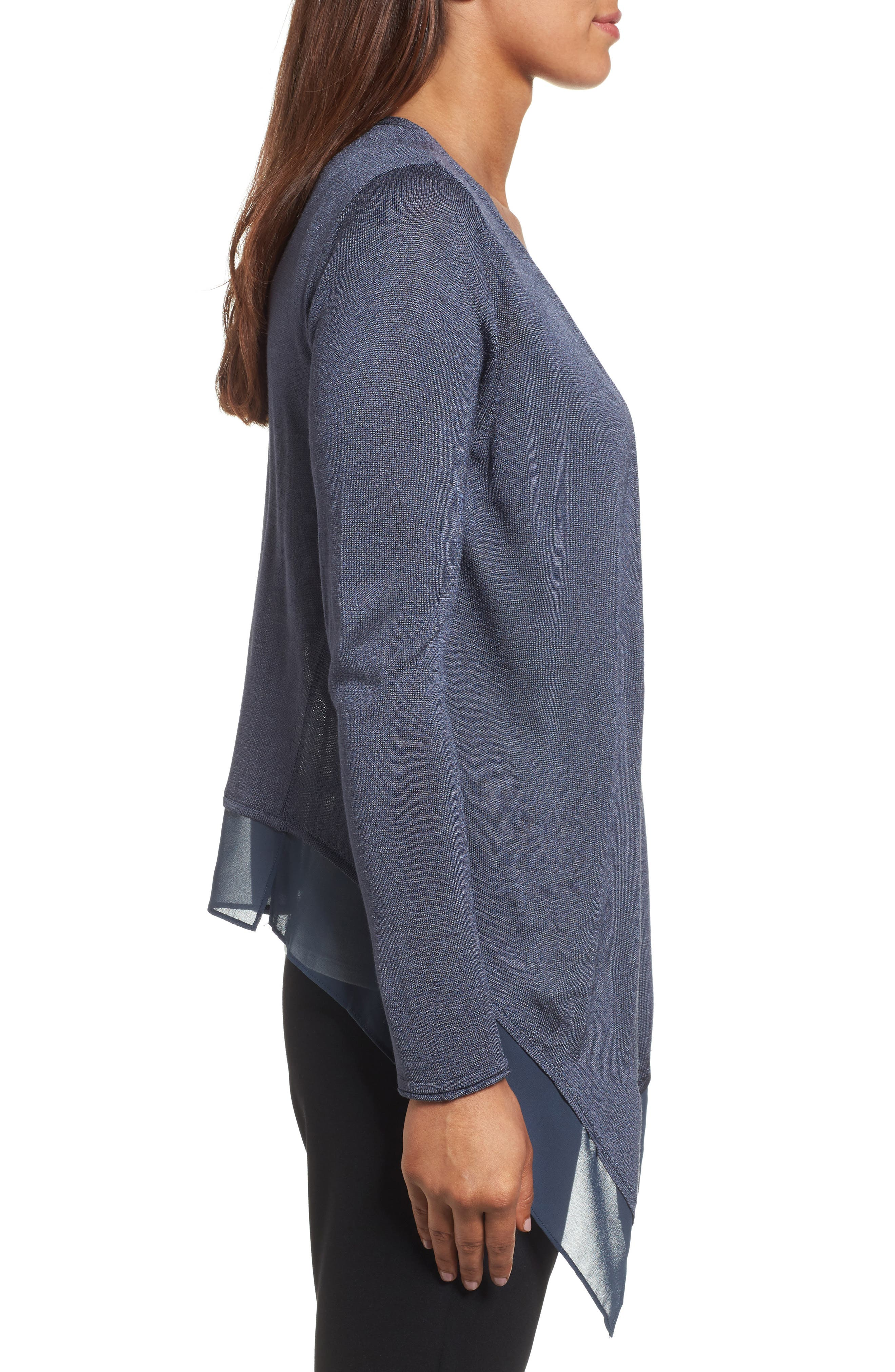 Paired Up Silk Blend Cardigan,                             Alternate thumbnail 3, color,                             Slate