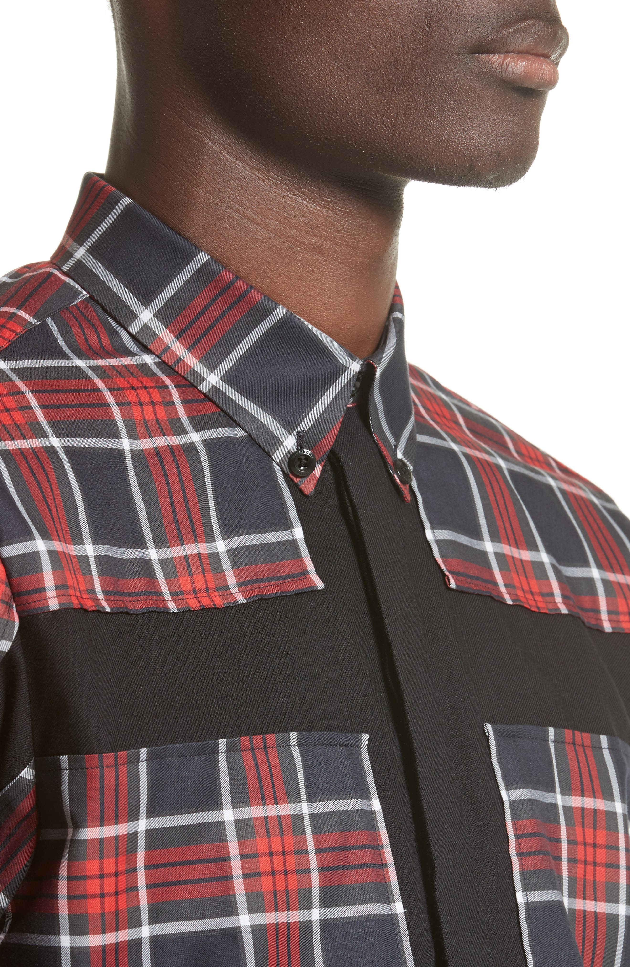 Panel Check Sport Shirt,                             Alternate thumbnail 4, color,                             Red