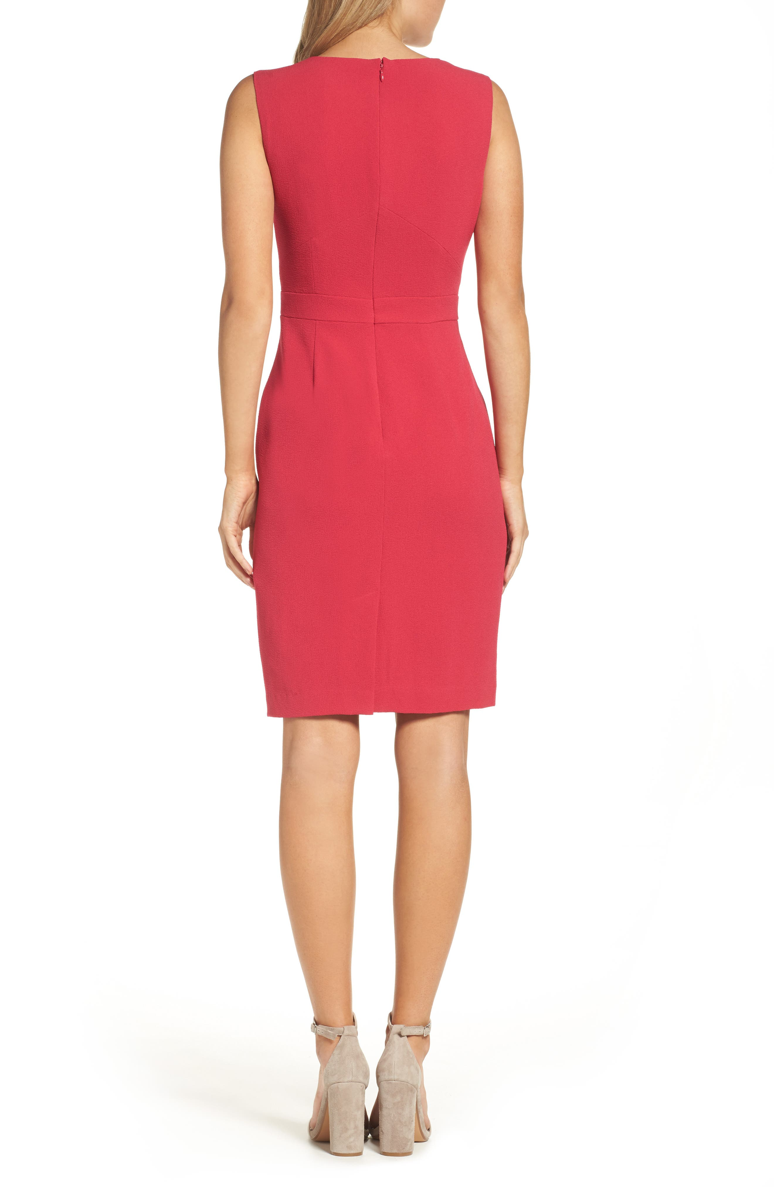 Seamed Sheath Dress,                             Alternate thumbnail 2, color,                             Strawberry