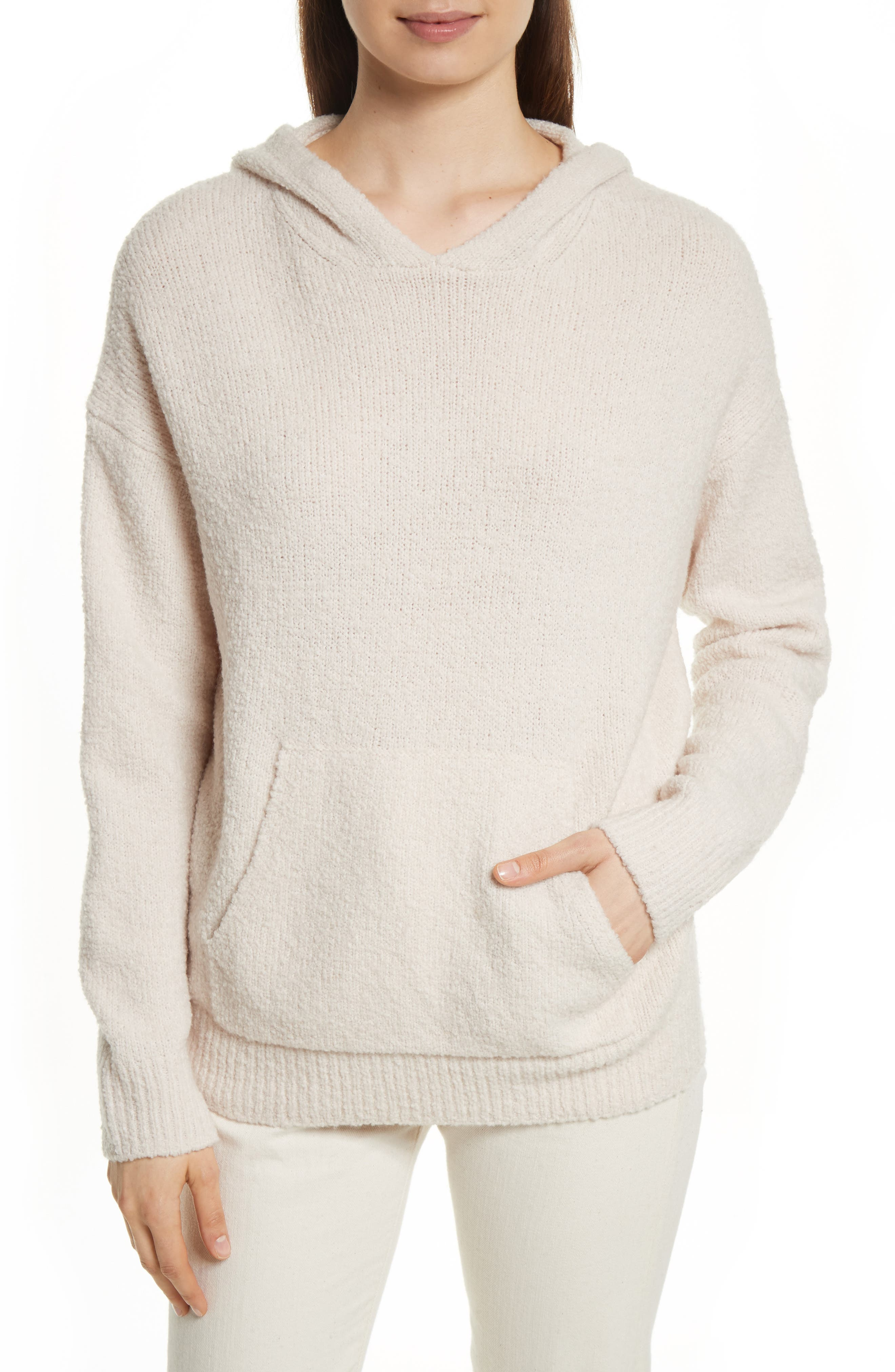 Pullover Knit Hoodie,                             Main thumbnail 1, color,                             Off White
