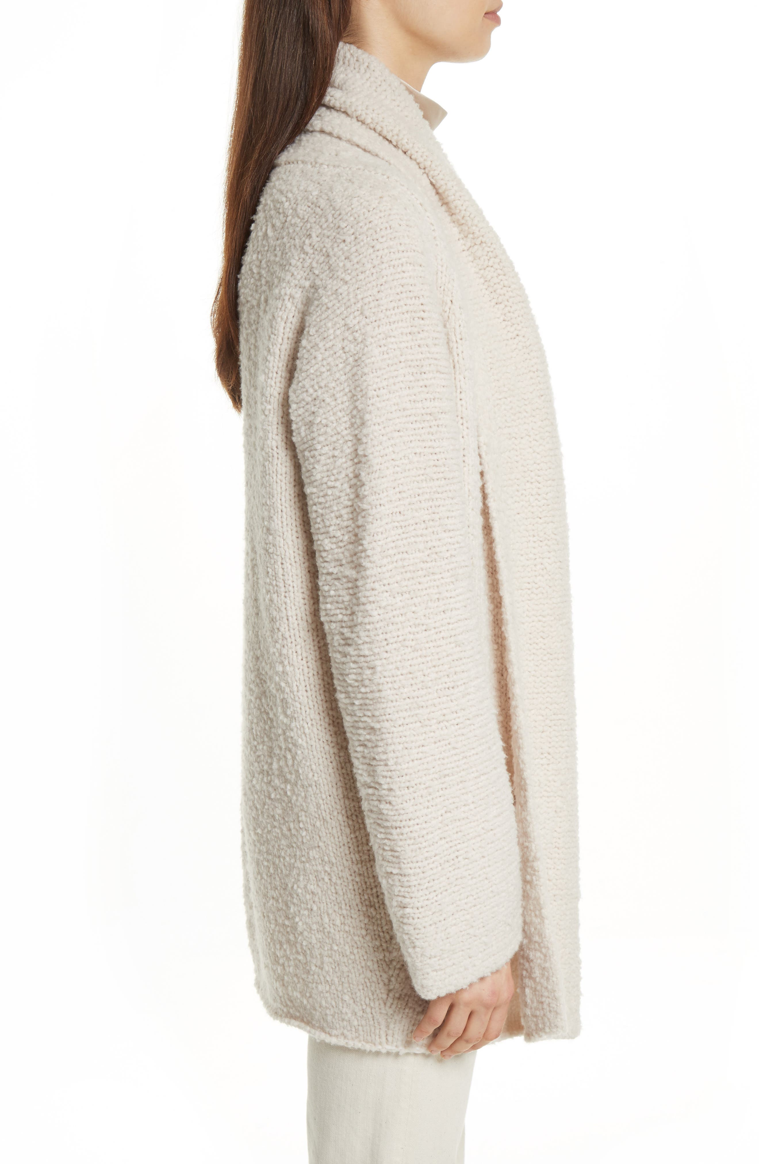 Drape Front Wool Knit Cardigan,                             Alternate thumbnail 3, color,                             Off White