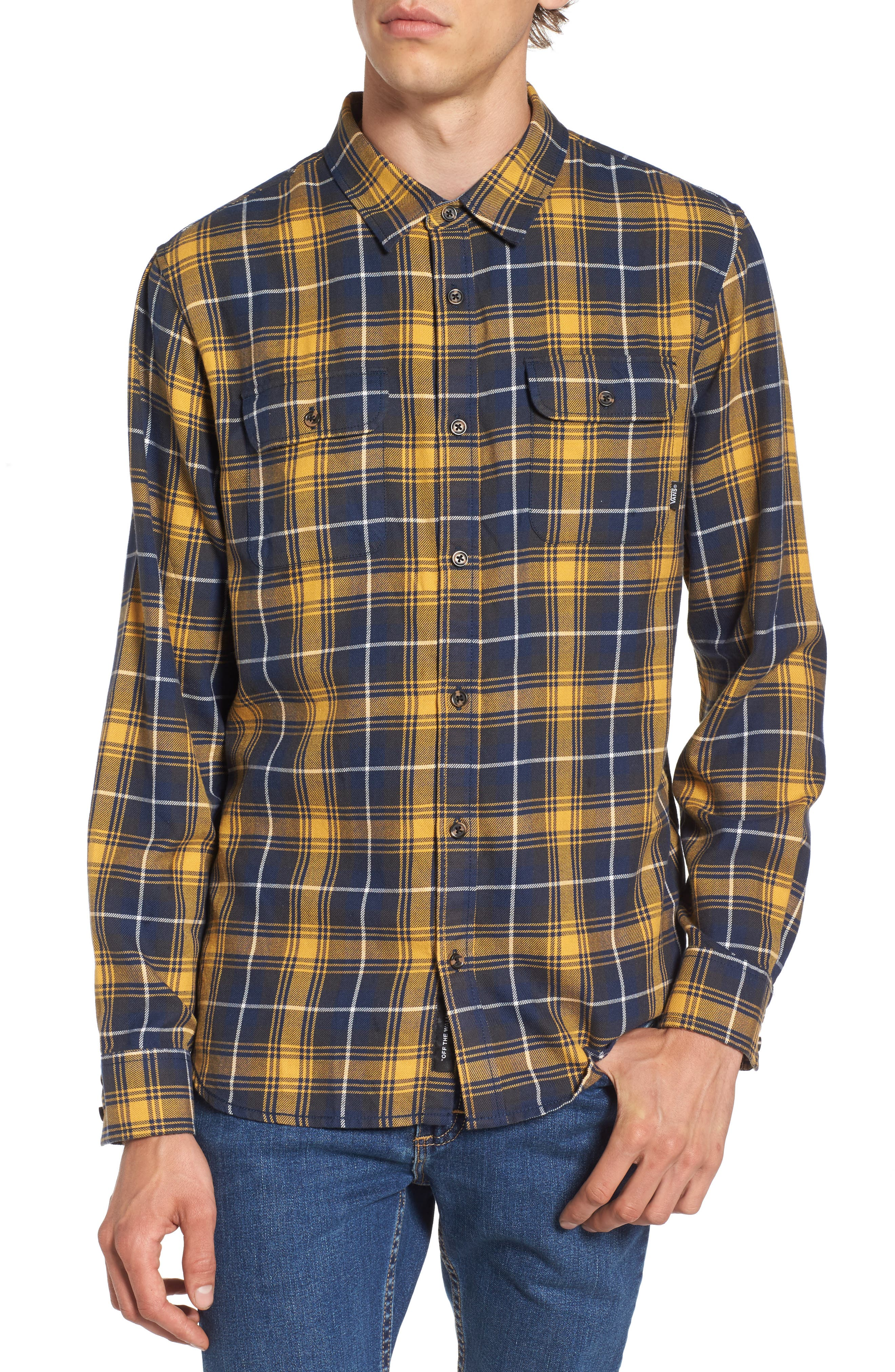 Sycamore Plaid Flannel Sport Shirt,                             Main thumbnail 1, color,                             Mineral Yellow/ Dress Blues