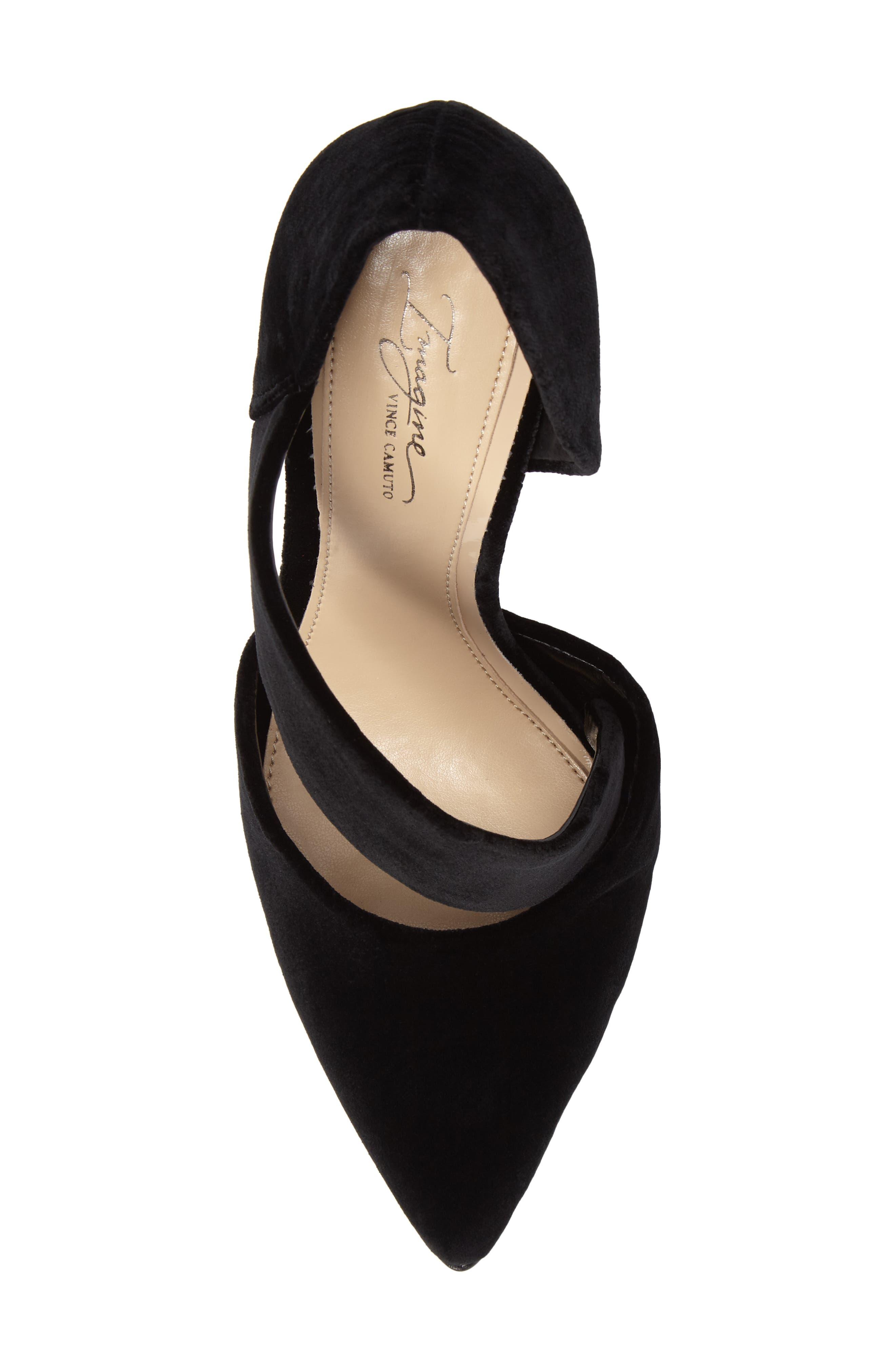 Oya Asymmetrical Pointy Toe Pump,                             Alternate thumbnail 5, color,                             Black Velvet