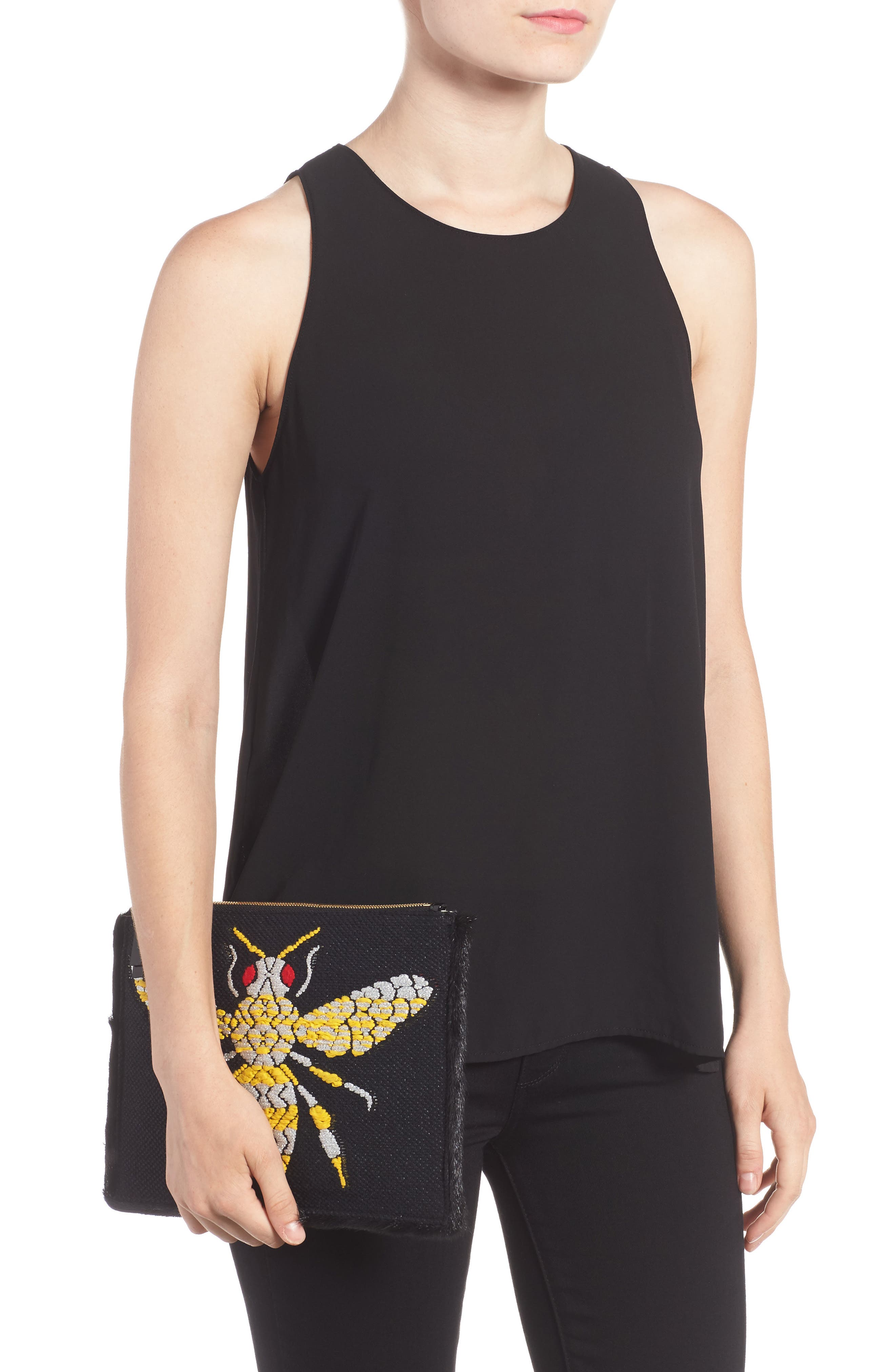 Alternate Image 2  - Frances Valentine Large Bee Leather Clutch