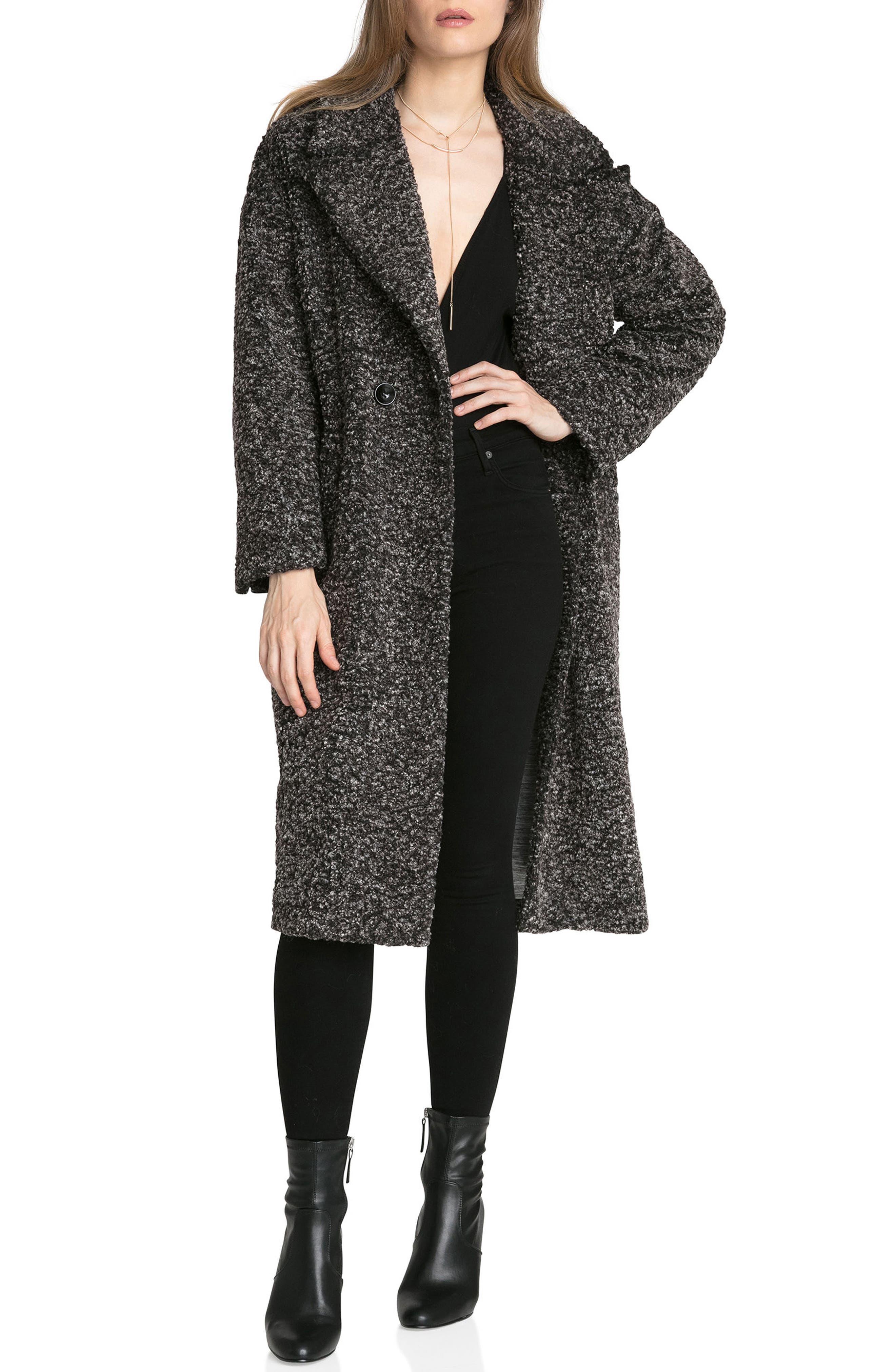 Fleece Bouclé Cocoon Coat,                             Alternate thumbnail 2, color,                             Black/ White Melange
