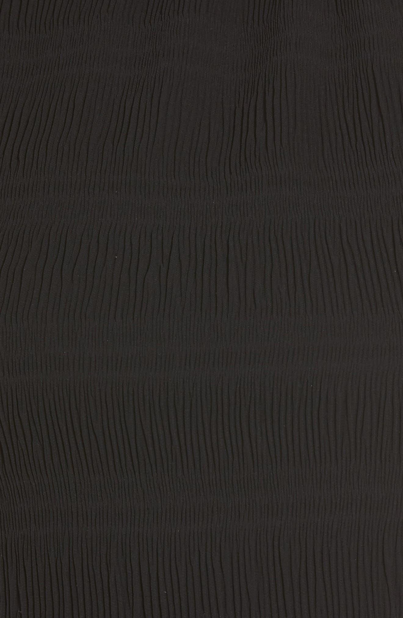 Smocked Neck Crop Top,                             Alternate thumbnail 6, color,                             Black