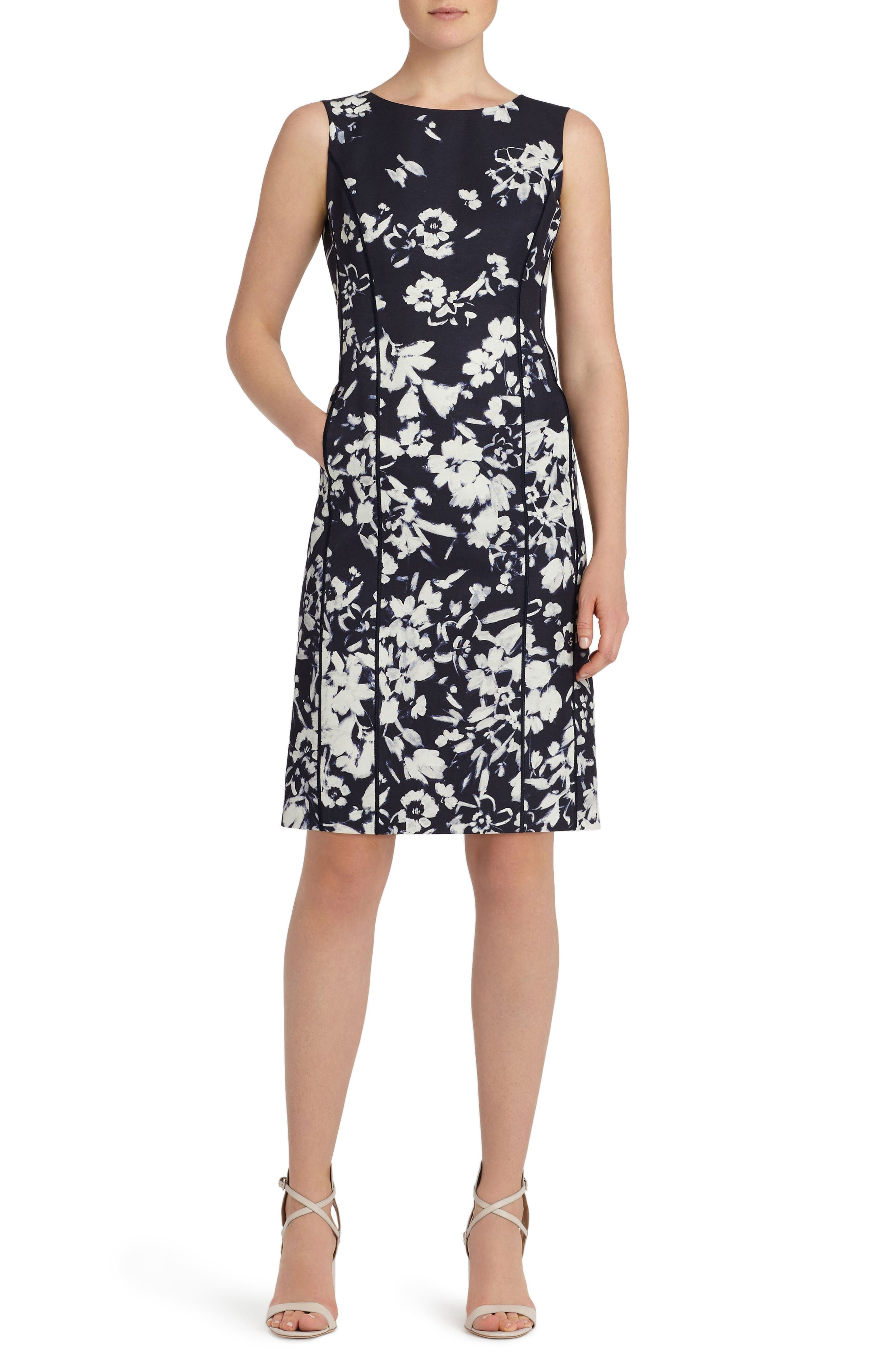 Evelyn Print Sheath Dress,                         Main,                         color, Ink Multi