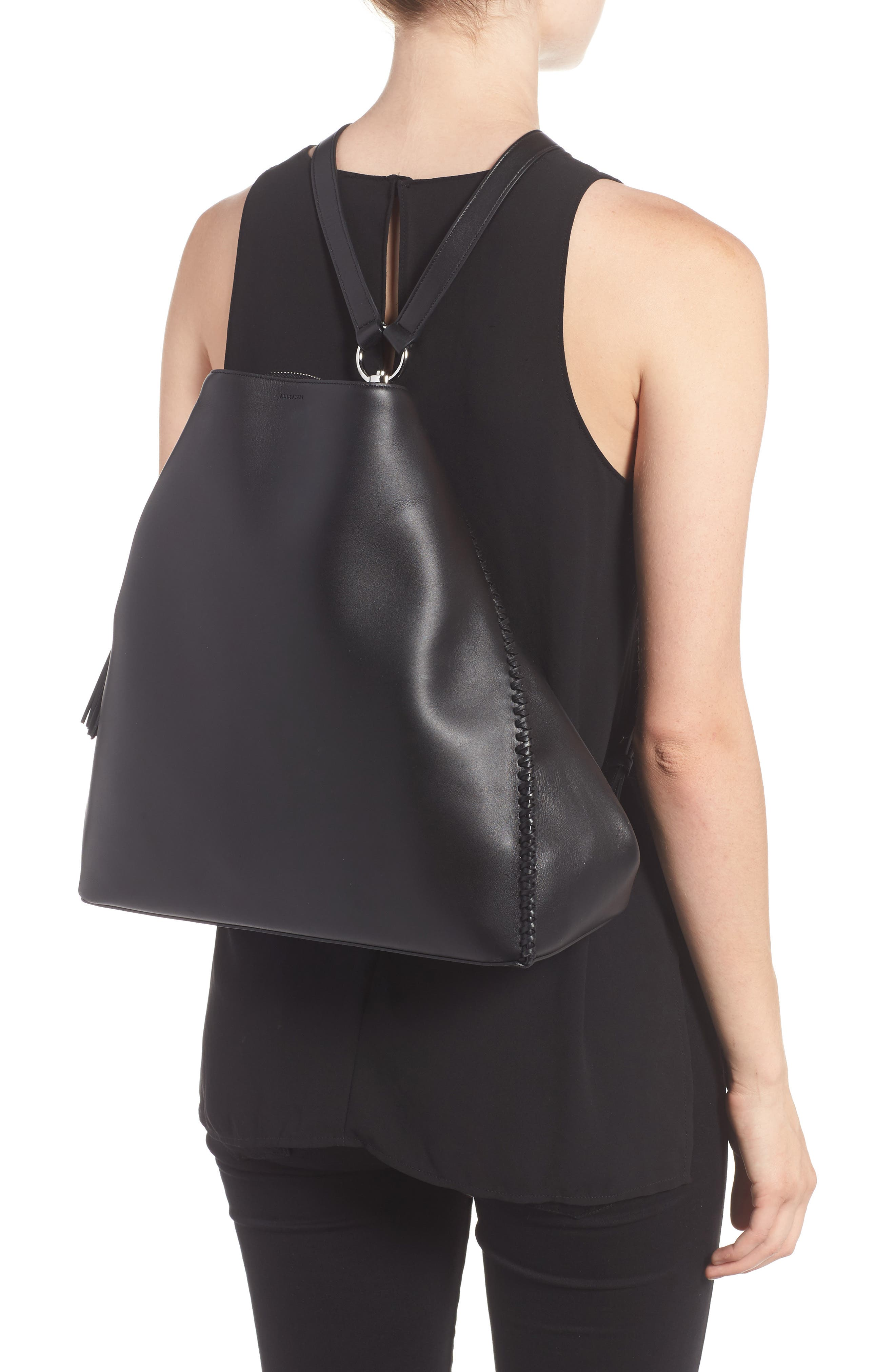 Pearl Convertible Leather Backpack,                             Alternate thumbnail 2, color,                             Black