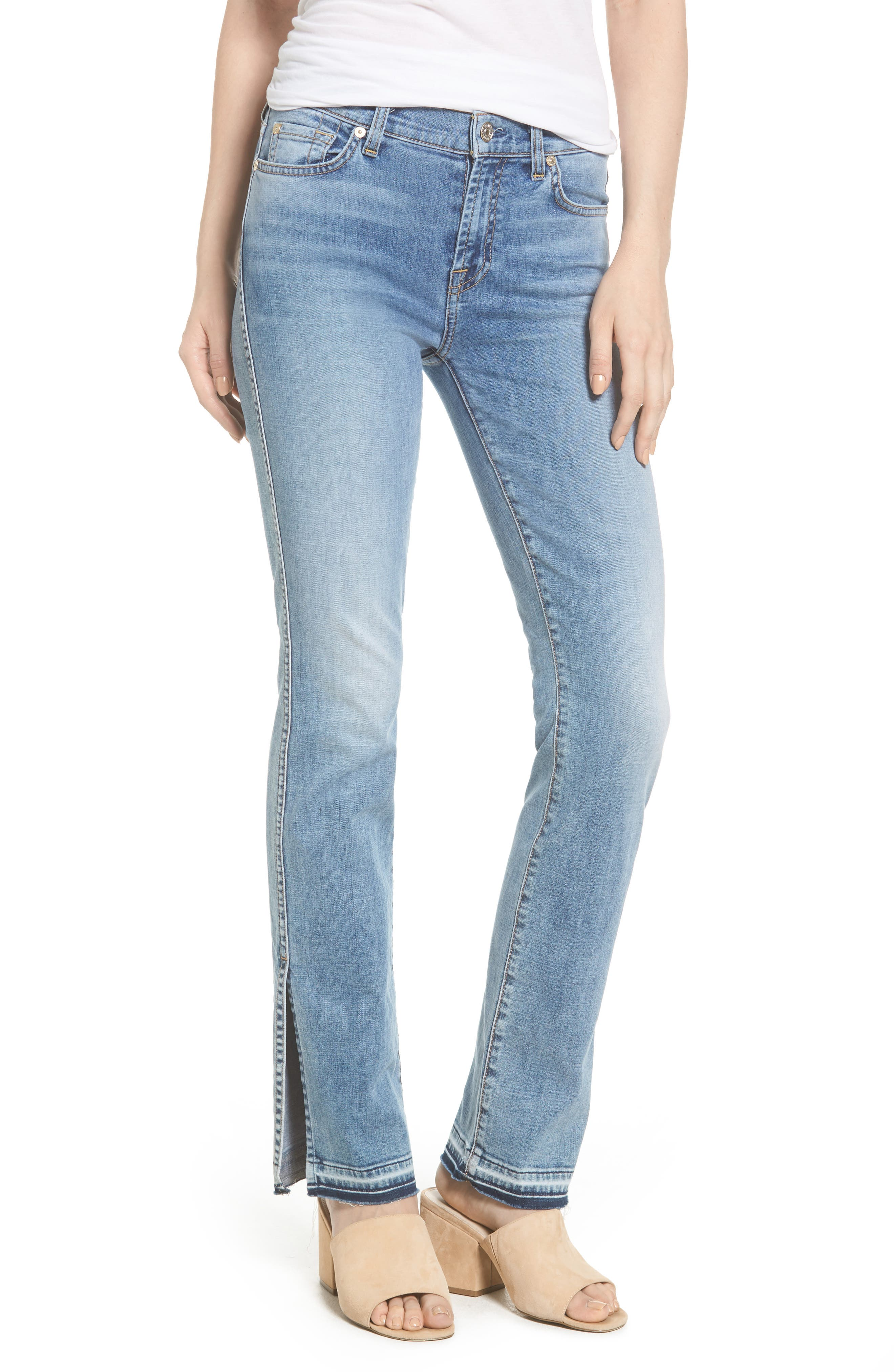 Main Image - 7 For All Mankind® Dylan Split Hem Straight Leg Jeans (Light Lafayette)