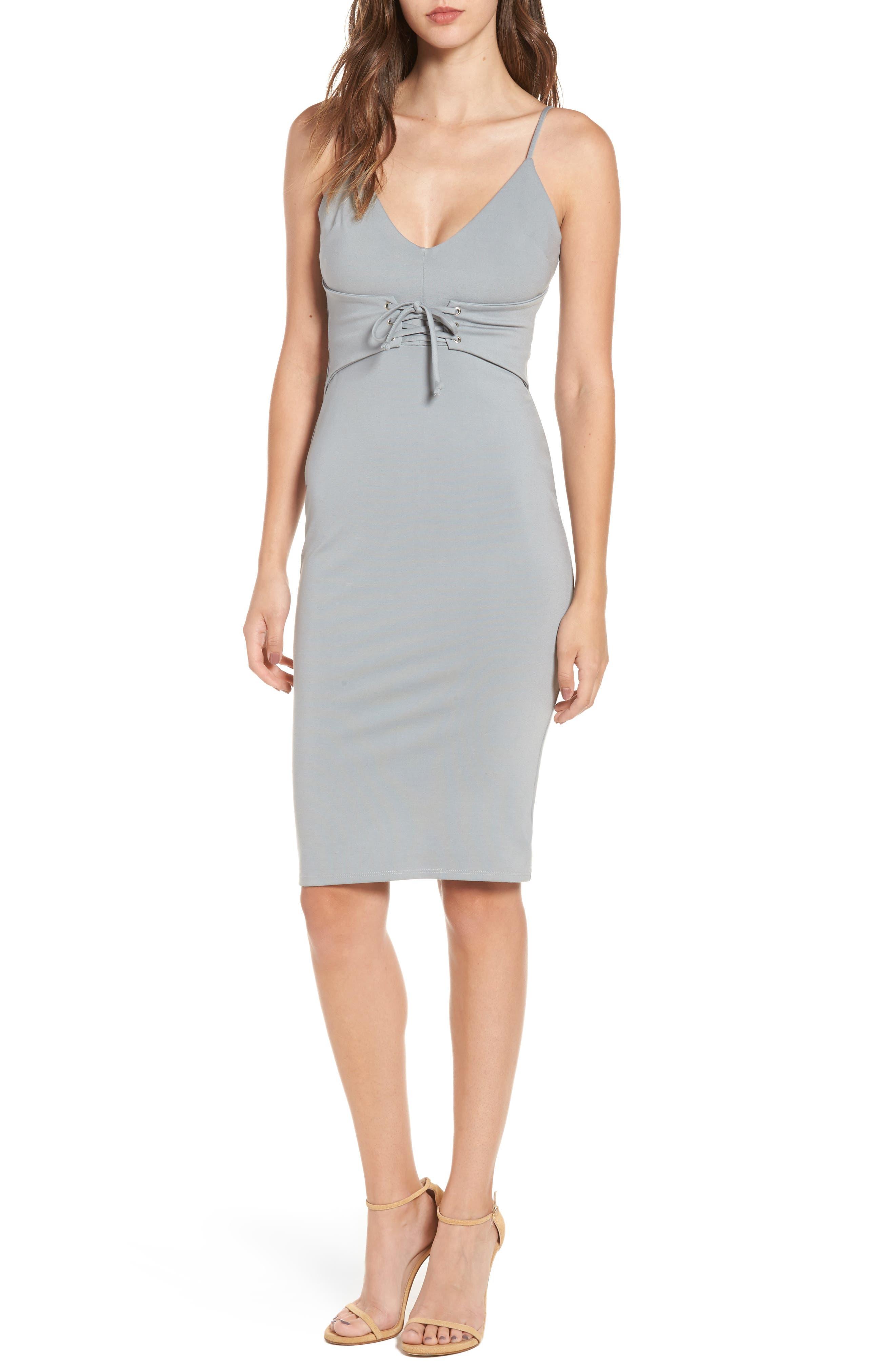 Corset Detail Body-Con Dress,                         Main,                         color, Grey/ Blue