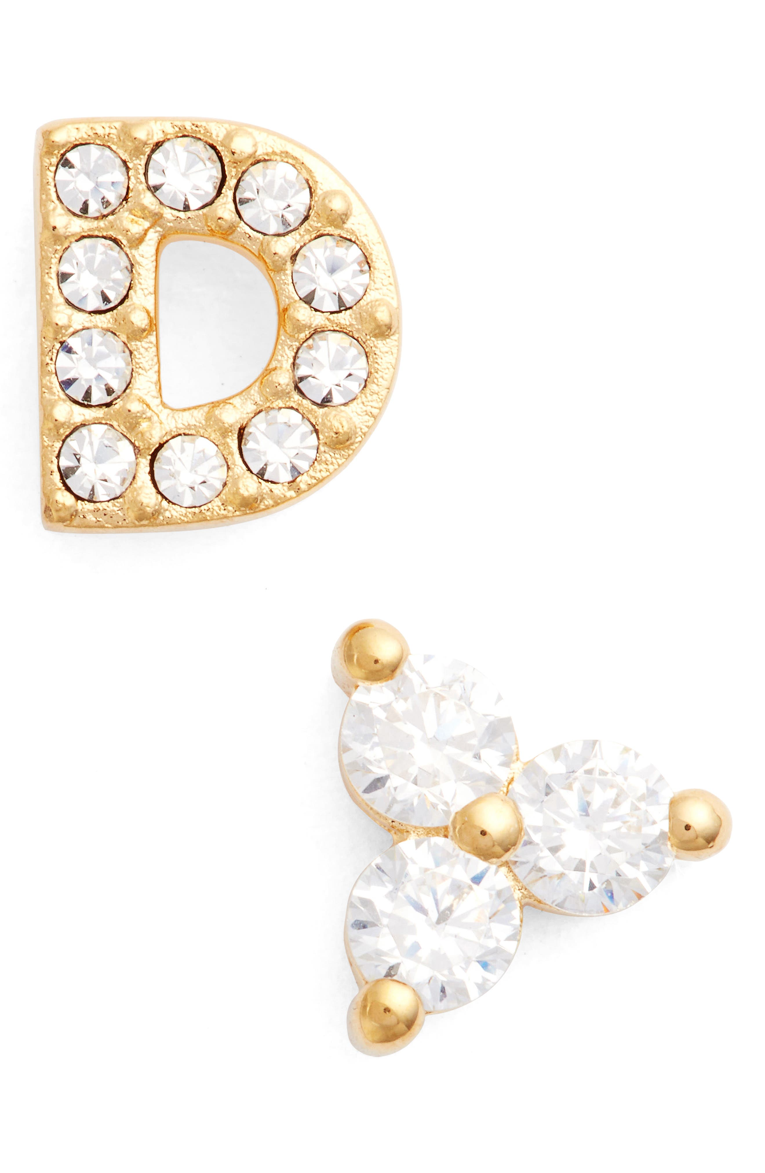 Initial Mismatched Stud Earrings,                         Main,                         color, Gold - D