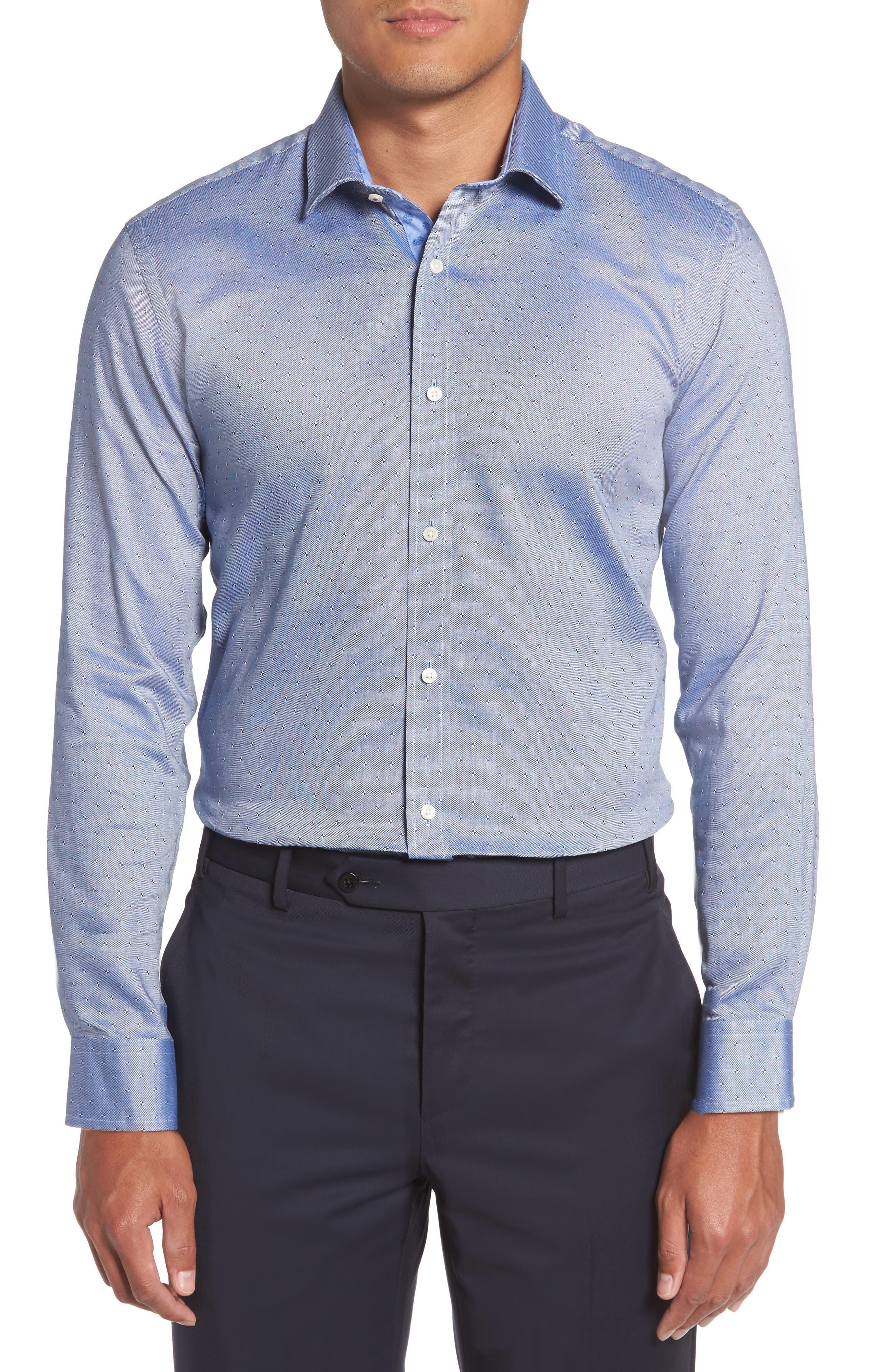 Jamer Trim Fit Dot Dress Shirt,                             Alternate thumbnail 2, color,                             Navy