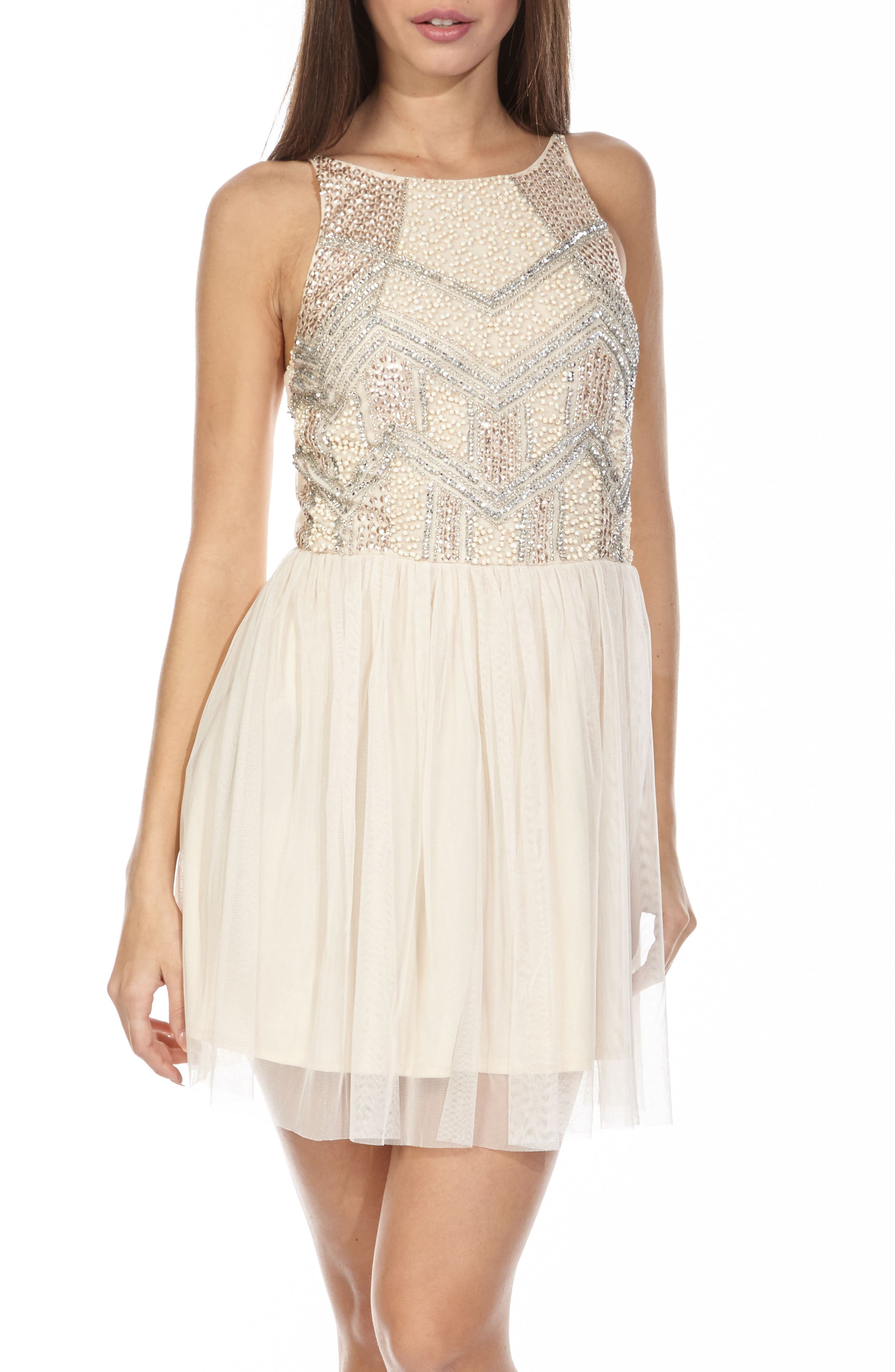 Alternate Image 4  - Lace & Beads Peach Embellished Skater Dress