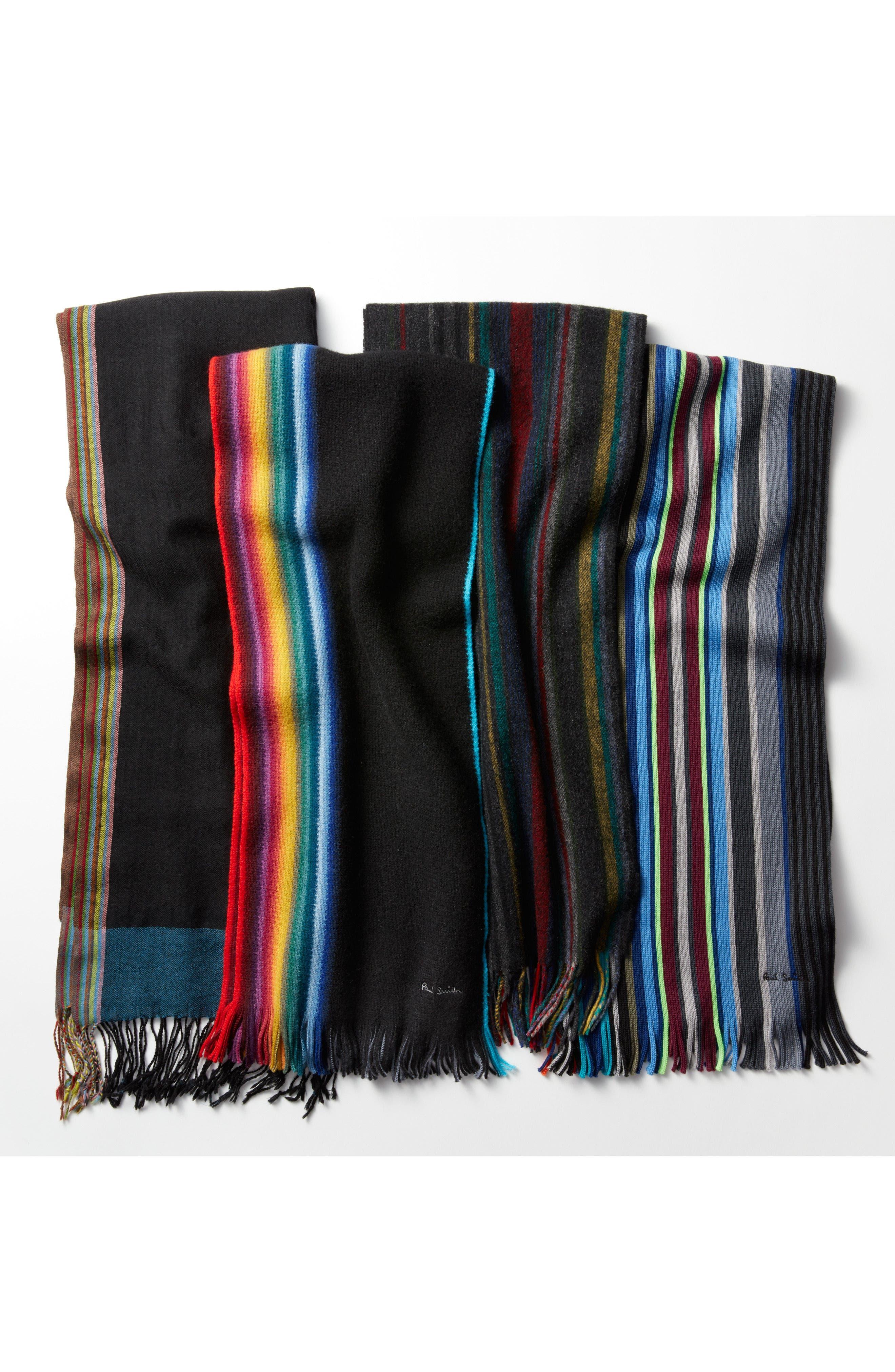 Stripe Herringbone Wool Scarf,                             Alternate thumbnail 4, color,