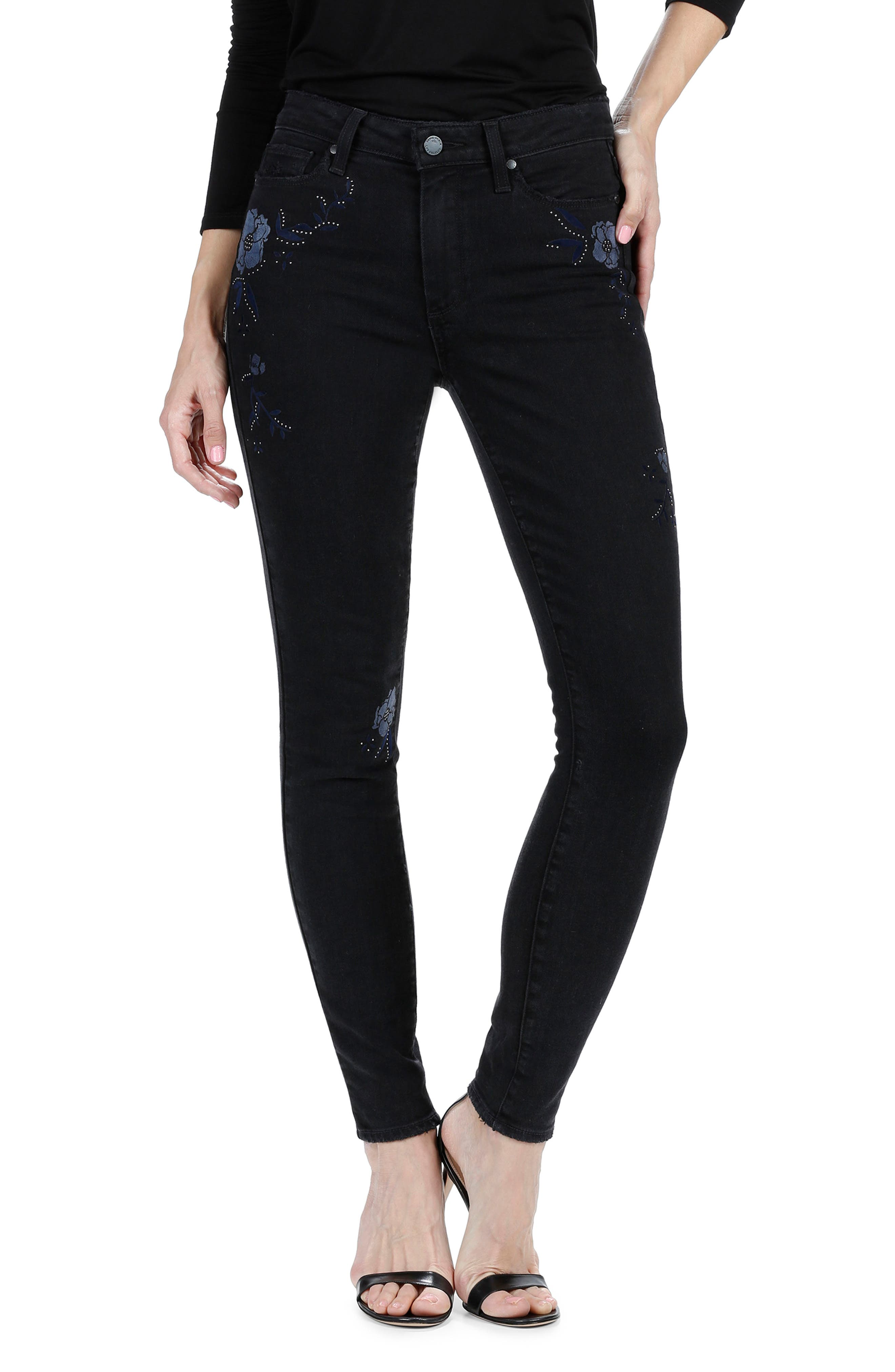 Alternate Image 1 Selected - PAIGE Hoxton High Waist Ultra Skinny Jeans (Floral Noir)