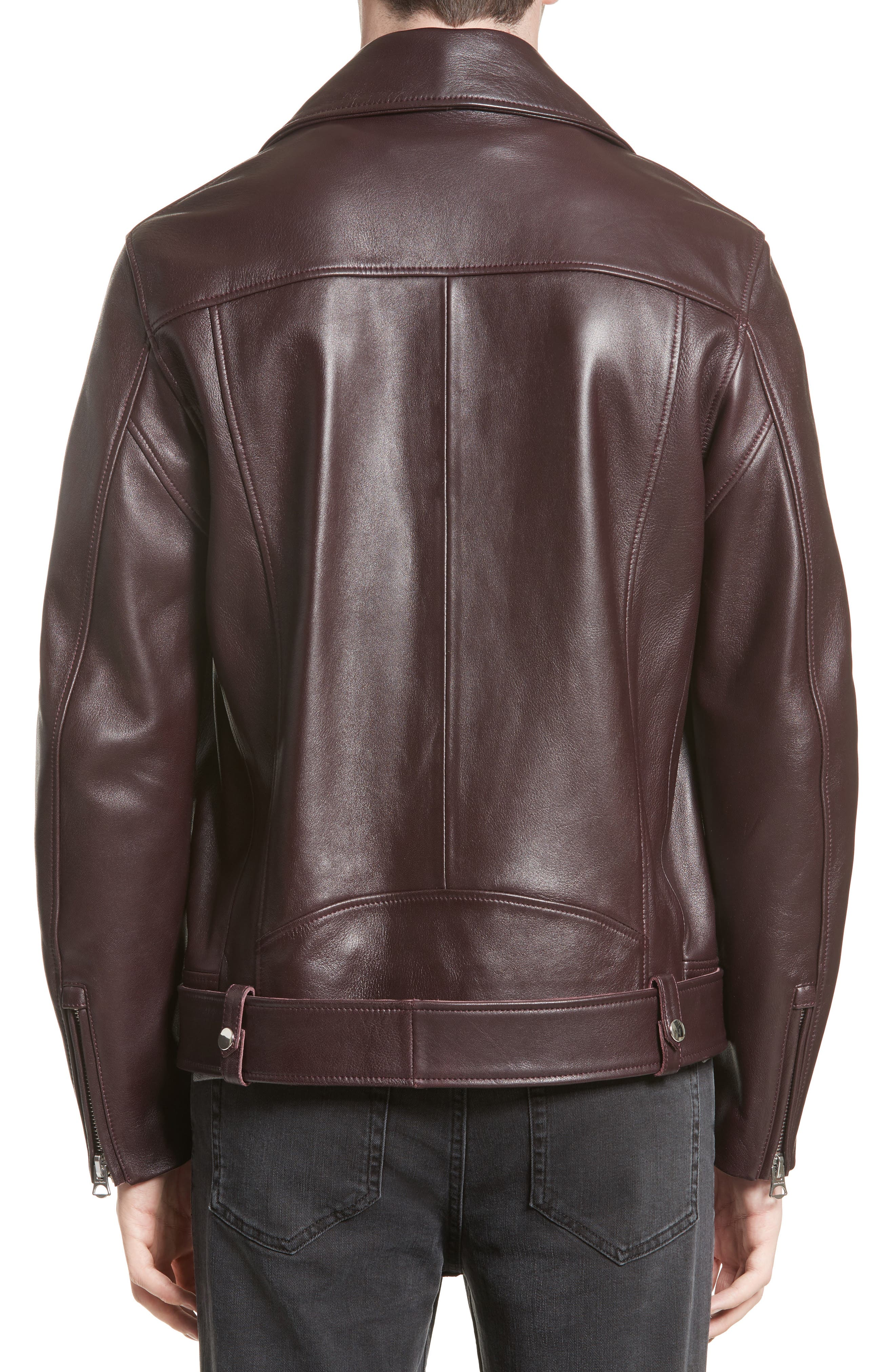 Acne Nate Leather Jacket,                             Alternate thumbnail 2, color,                             Oxblood Red