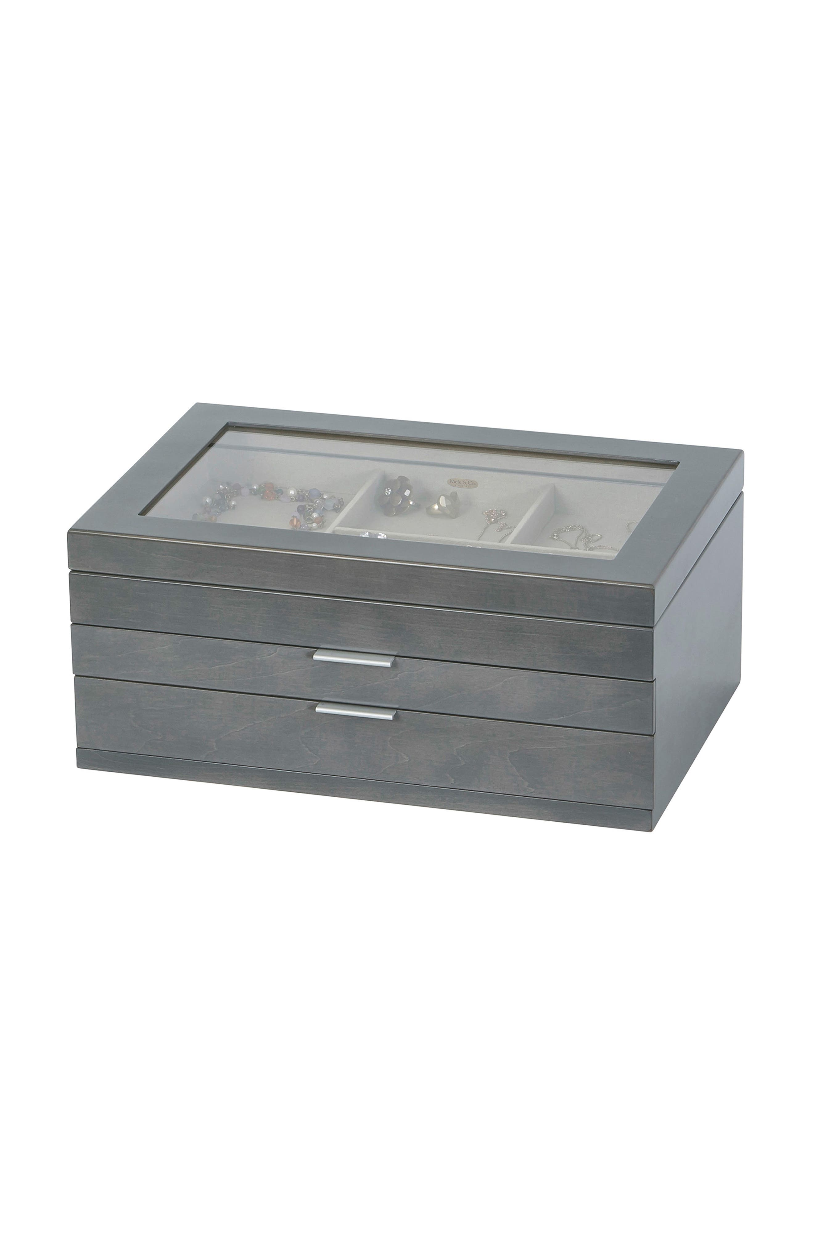Misty Glass Top Jewelry Box,                             Alternate thumbnail 2, color,                             Gray