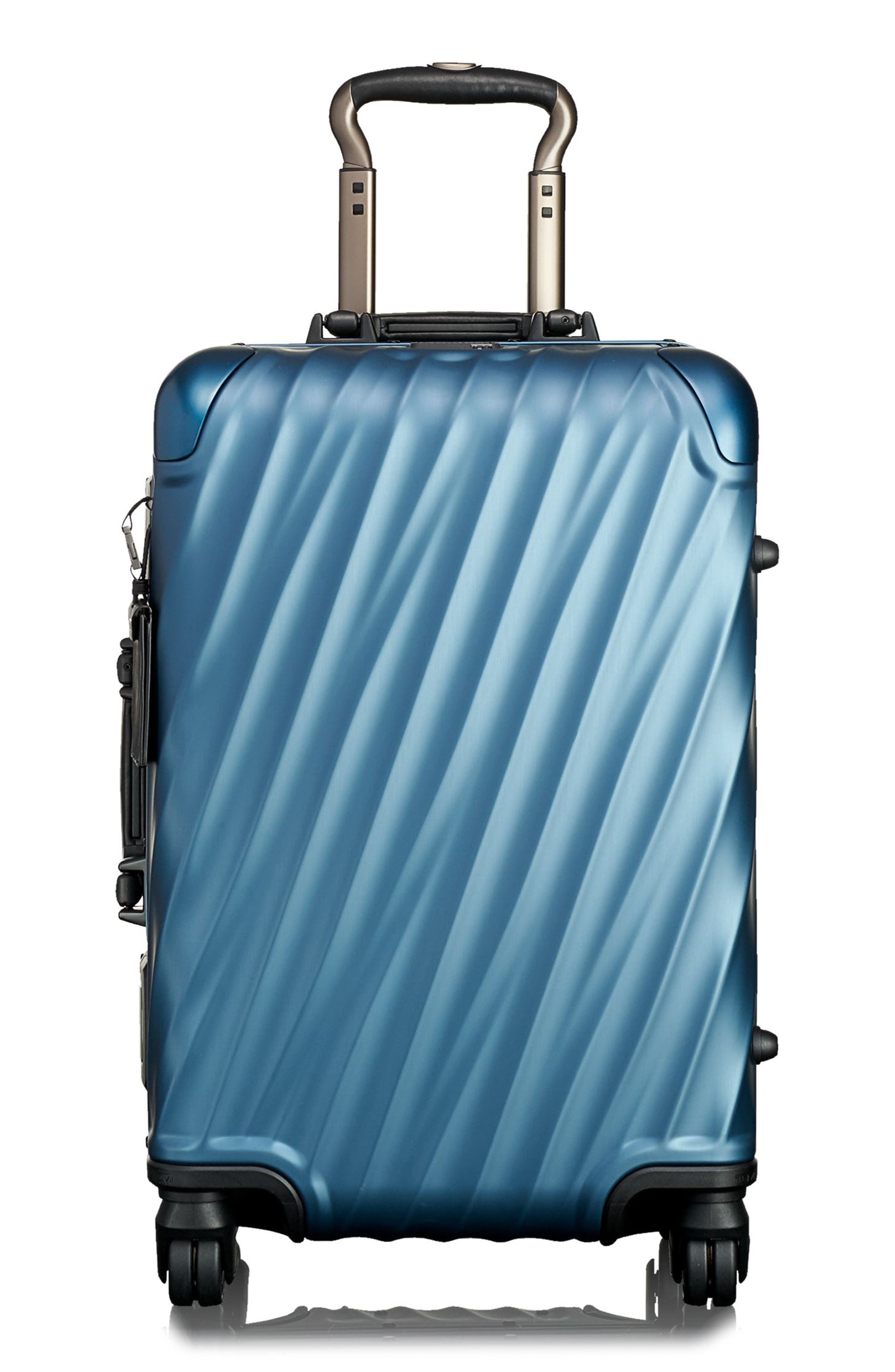 19 Degree 22 Inch International Wheeled Aluminum Carry-On,                         Main,                         color, Blue