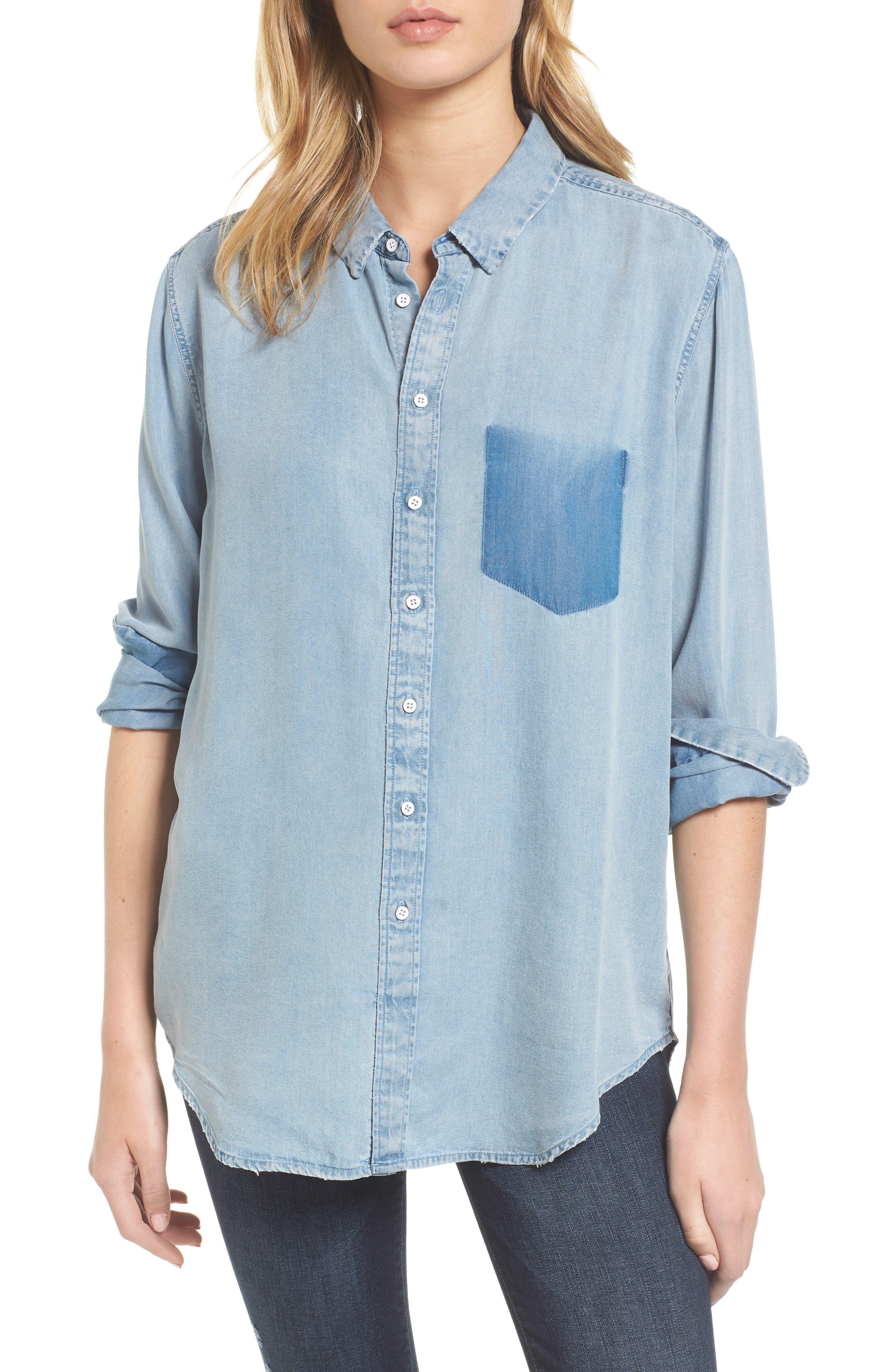 x The Blue Shirt Shop Nassau & Manhattan Boyfriend Shirt,                         Main,                         color, Vintage Midwash