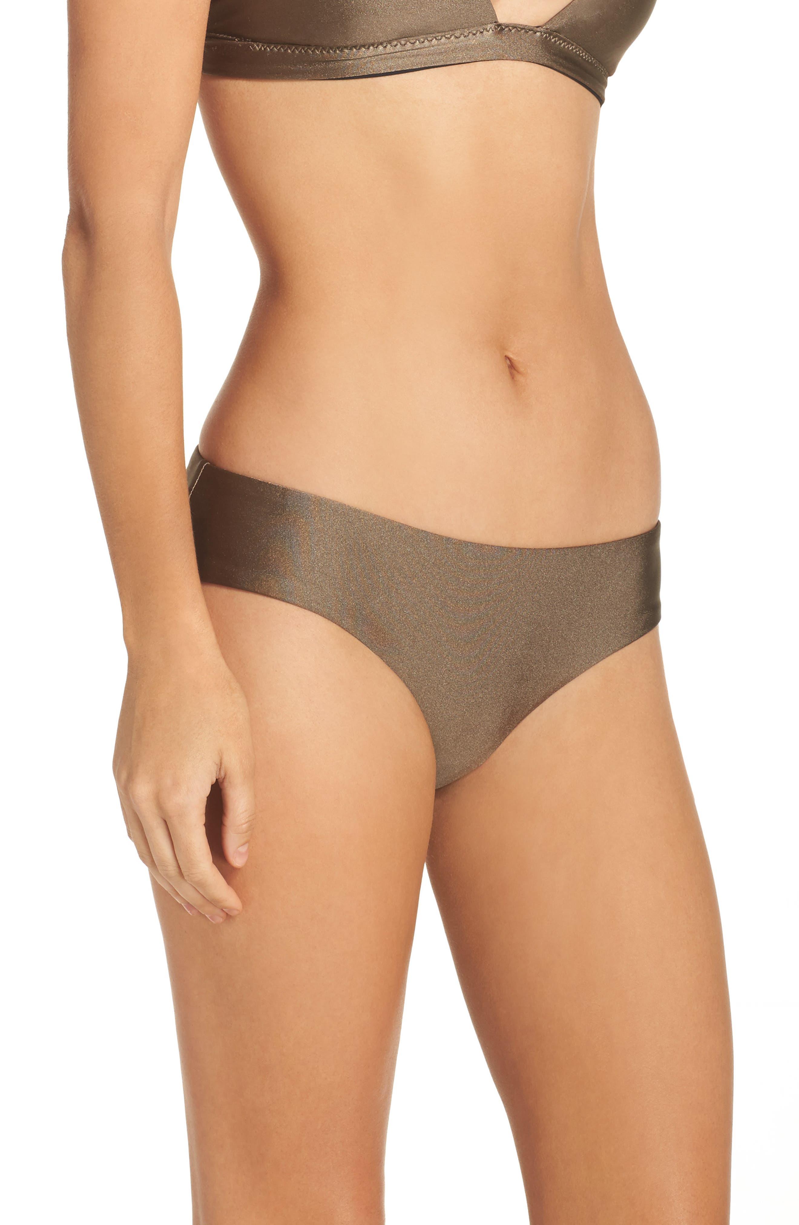 Reversible Shimmer Hipster Bikini Bottoms,                             Alternate thumbnail 3, color,                             Mink