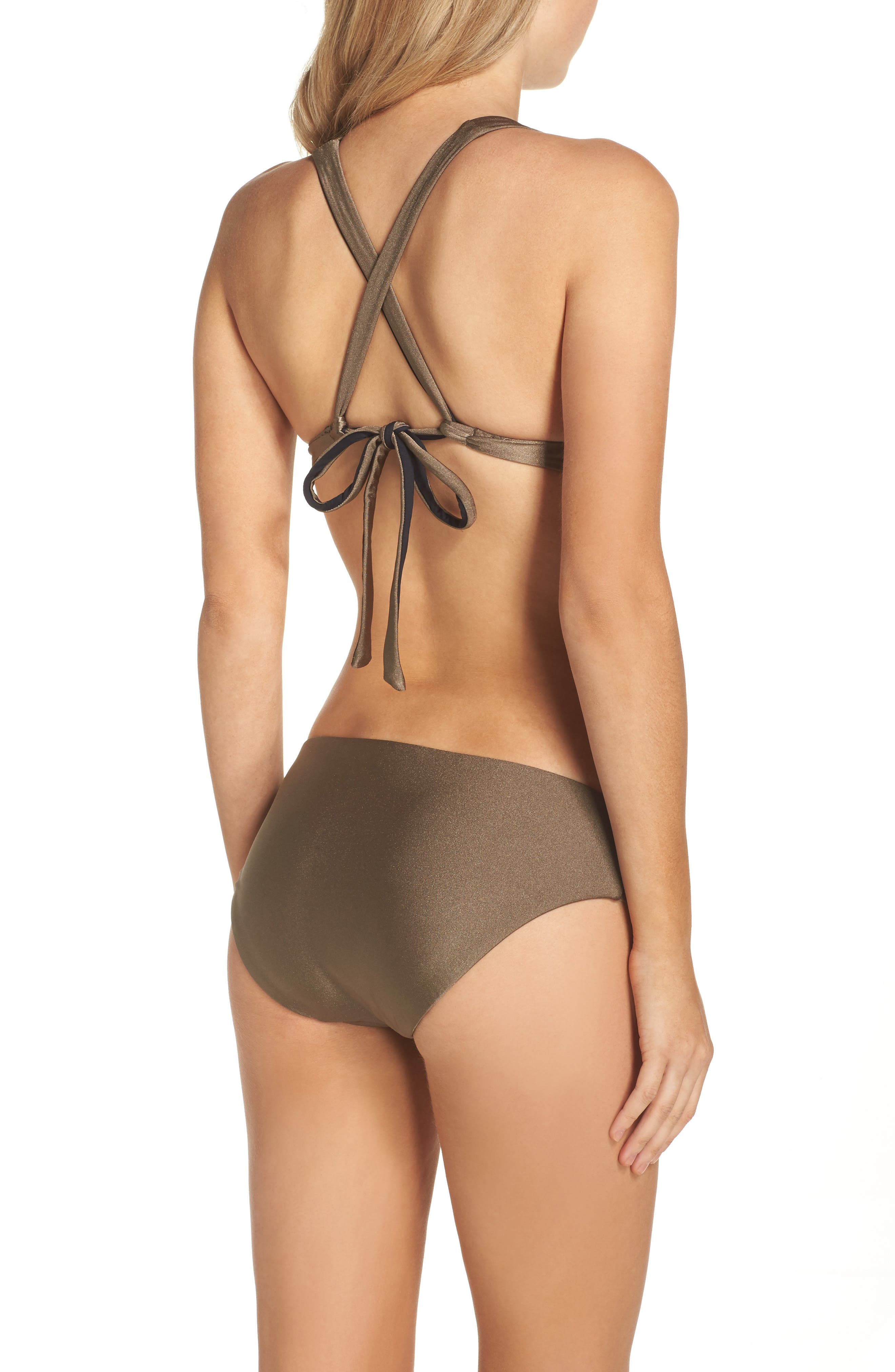 Reversible Shimmer Hipster Bikini Bottoms,                             Alternate thumbnail 5, color,                             Mink