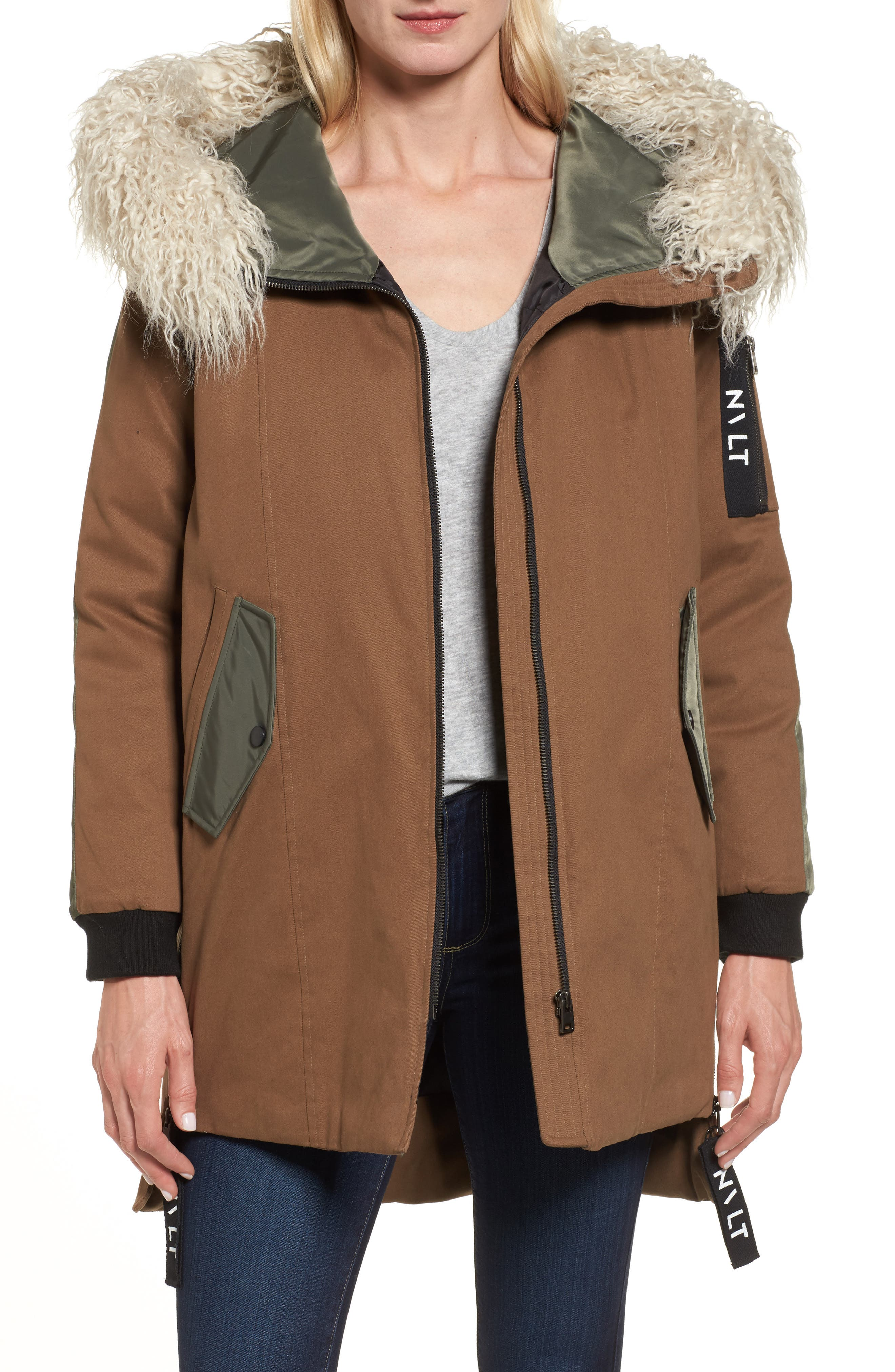 Stretch Cotton Twill Parka,                         Main,                         color, Khaki