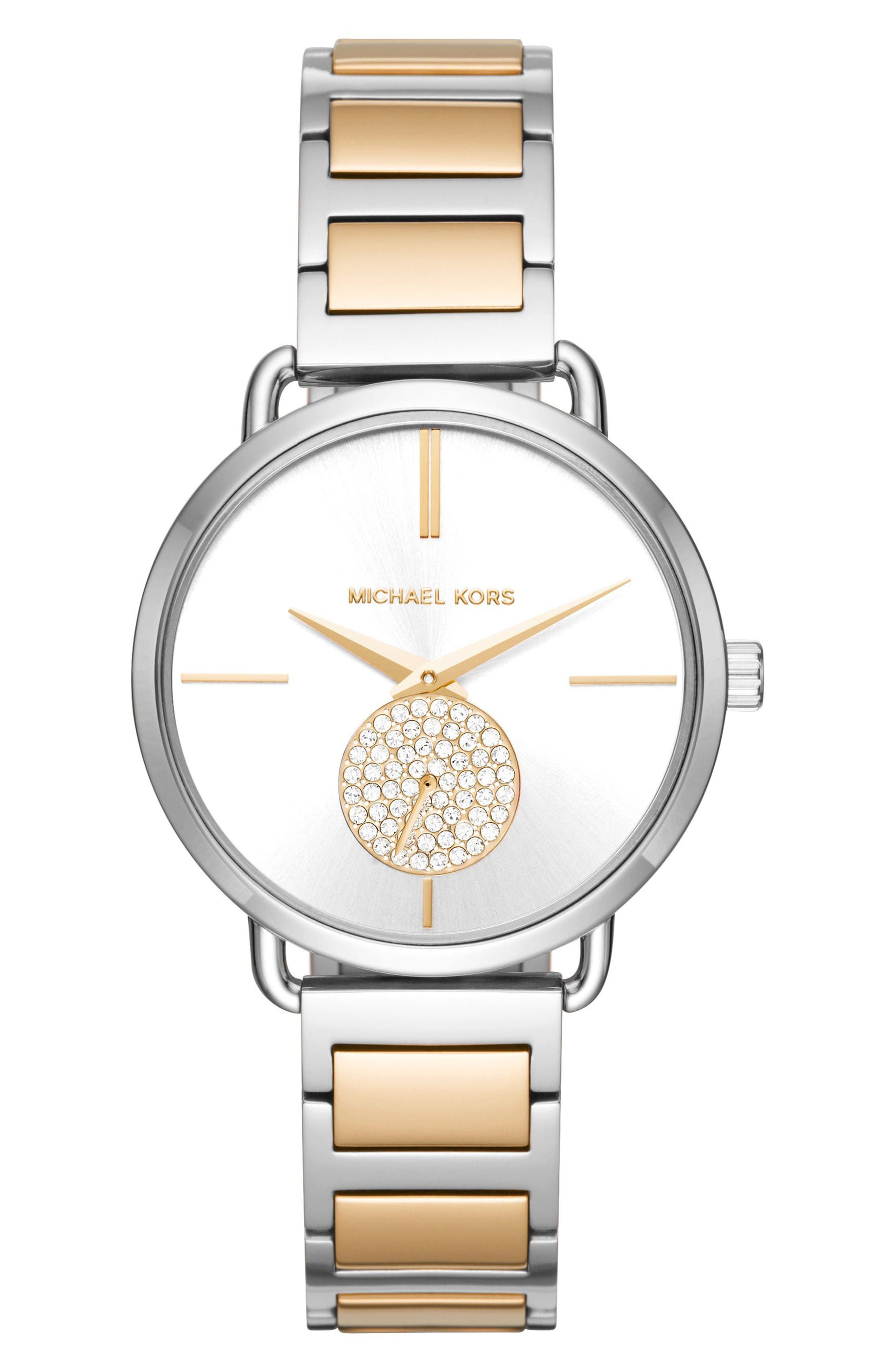Portia Round Bracelet Watch, 36.5mm,                         Main,                         color, Silver/ Gold/ White