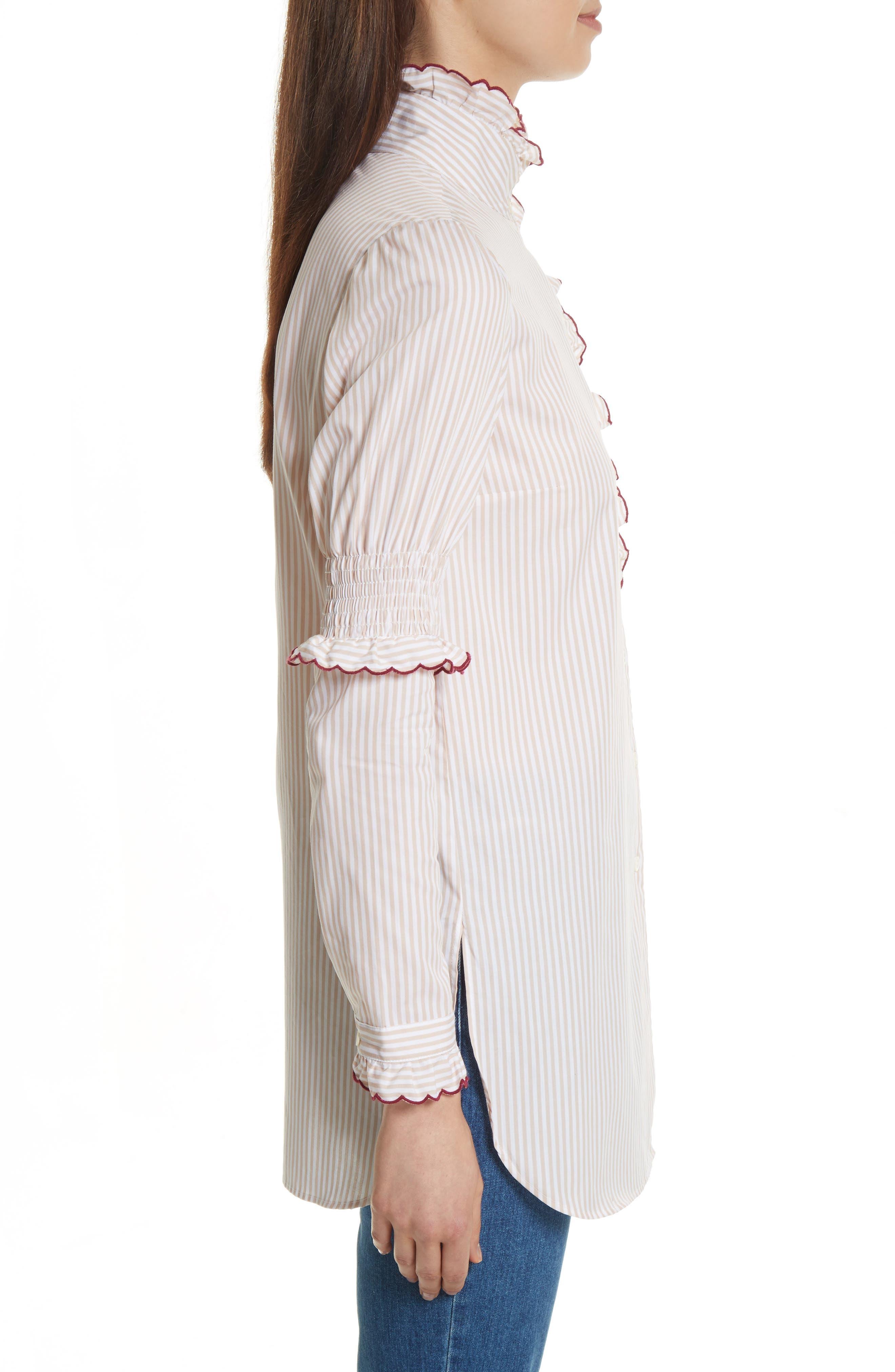 Stripe Cotton Shirt,                             Alternate thumbnail 3, color,                             Beige-White