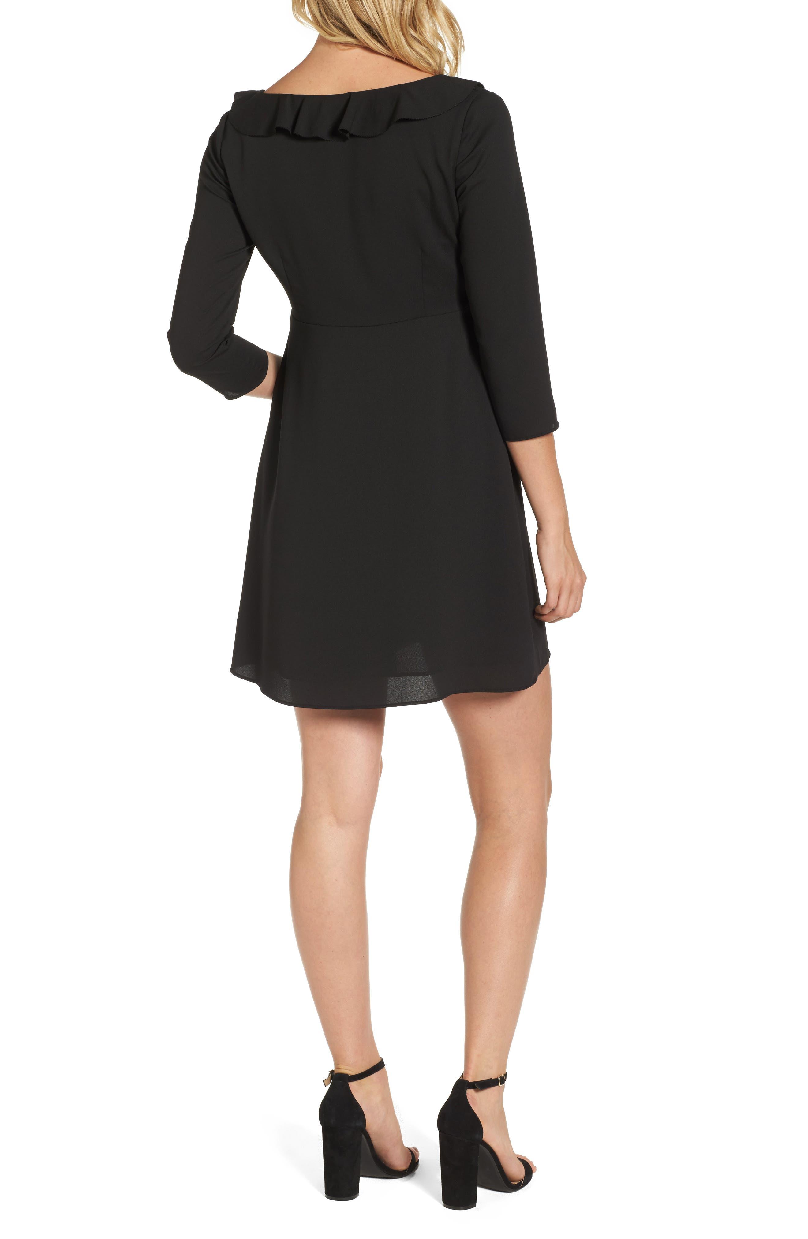 Signe Ruffle A-Line Dress,                             Alternate thumbnail 2, color,                             Black