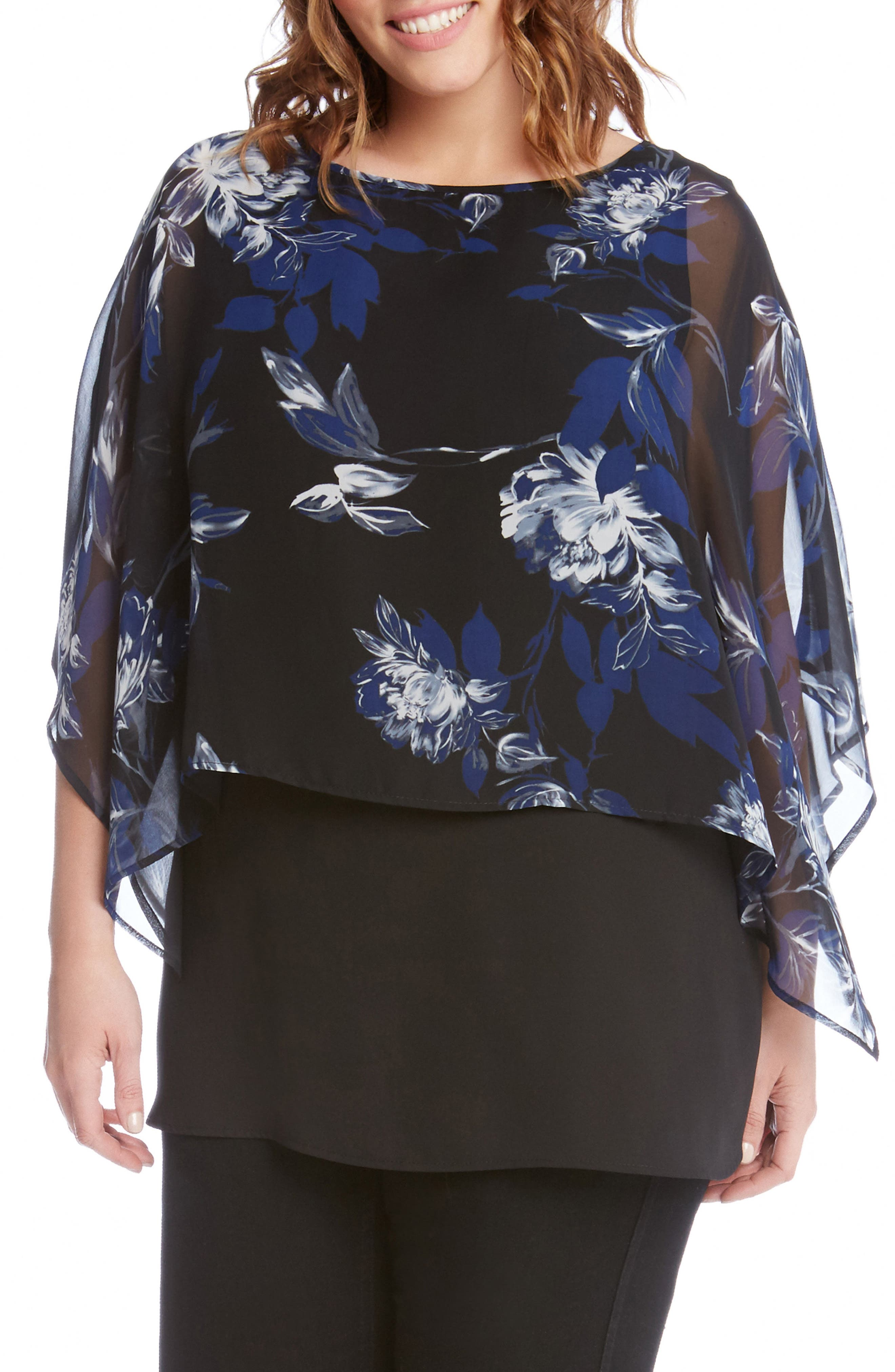 Karen Kane Floral Print Double Layer Boat Neck Top (Plus Size)