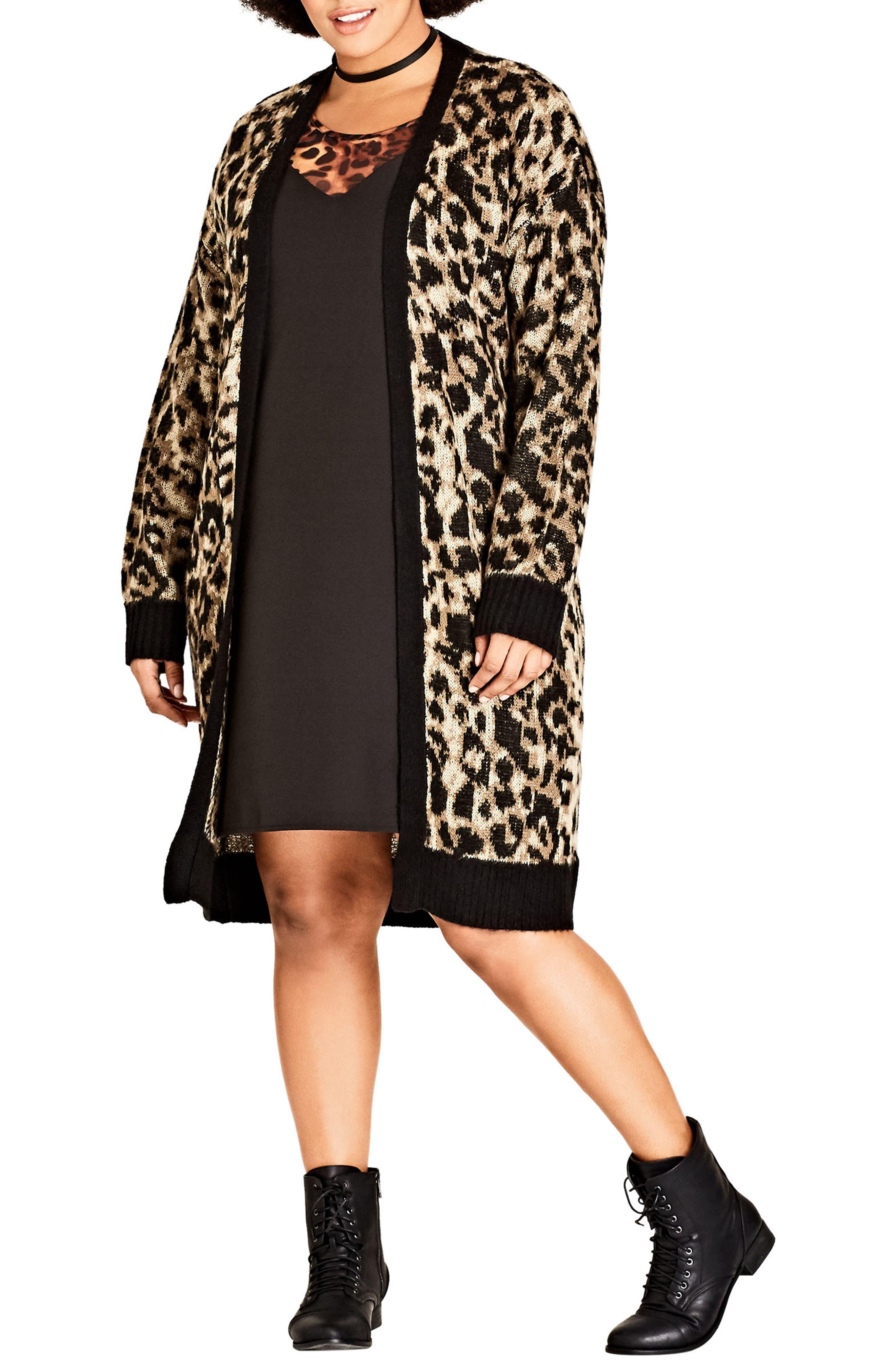 City Chic Leopard Print Long Cardigan (Plus Size)