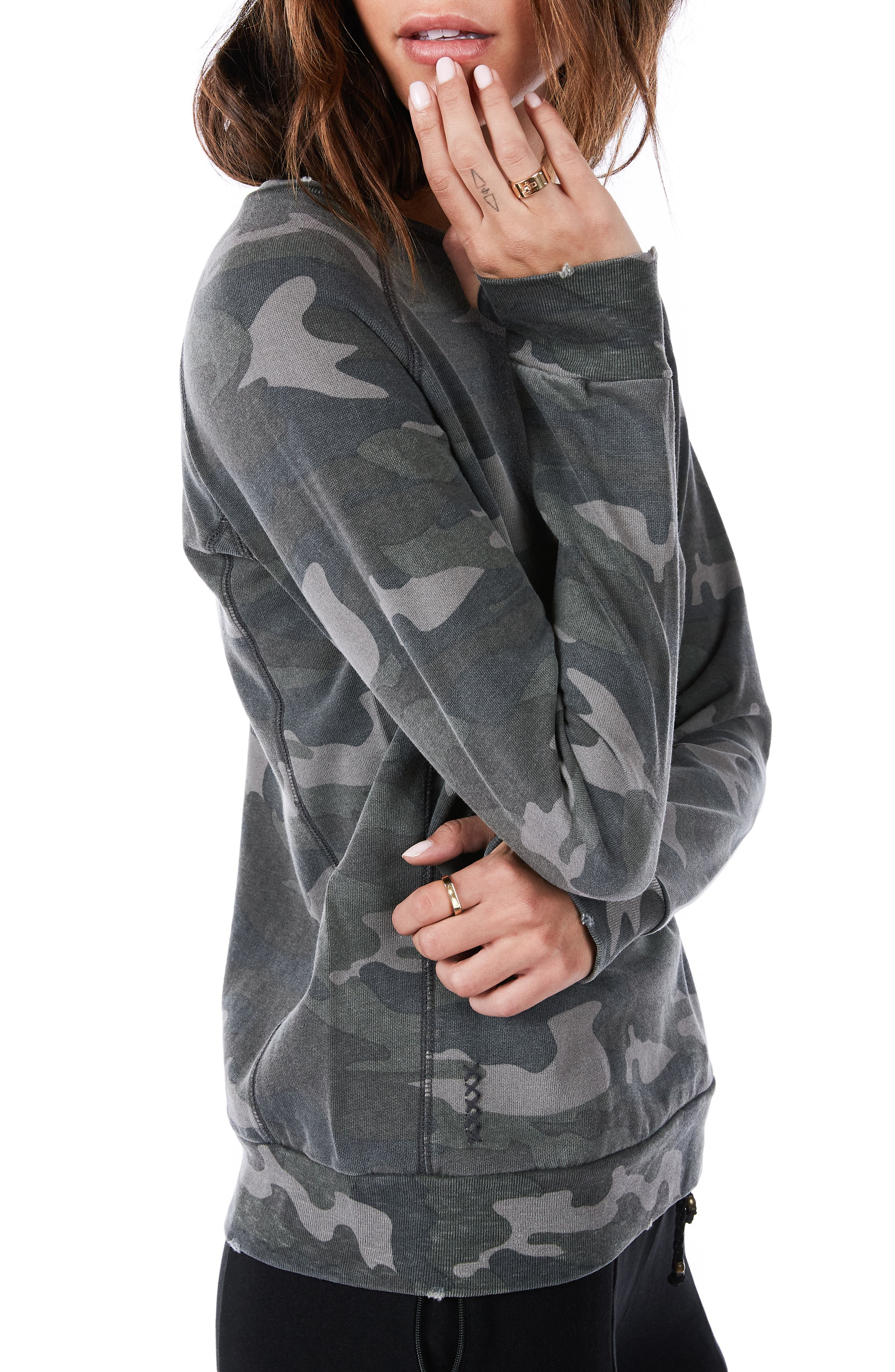 Distressed Camo Sweatshirt,                             Alternate thumbnail 3, color,                             Army Camo