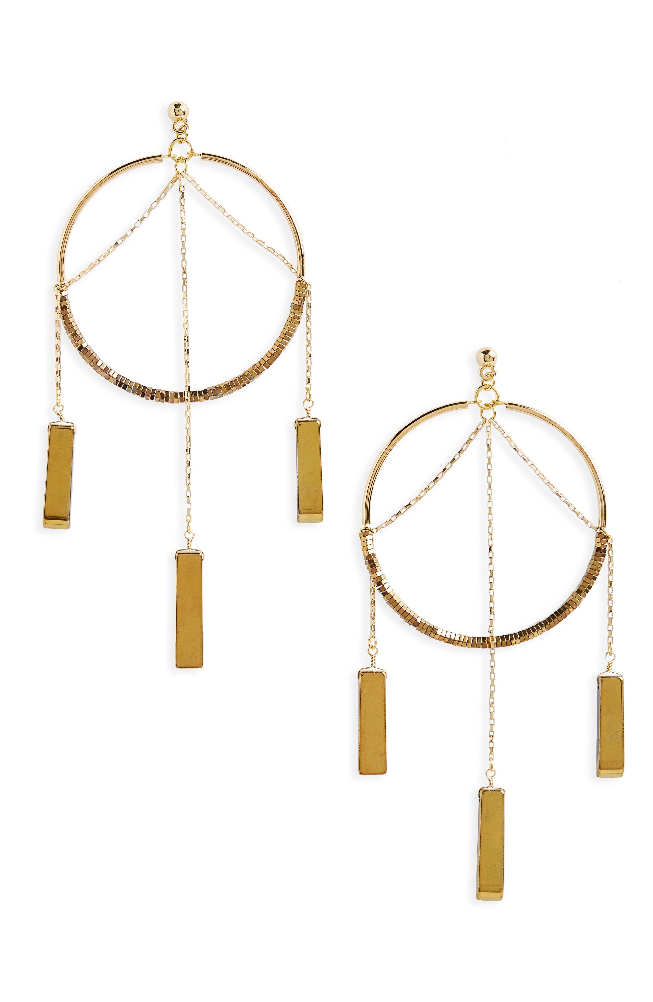 The Meadows Hoop Earrings,                         Main,                         color, Gold Hematite
