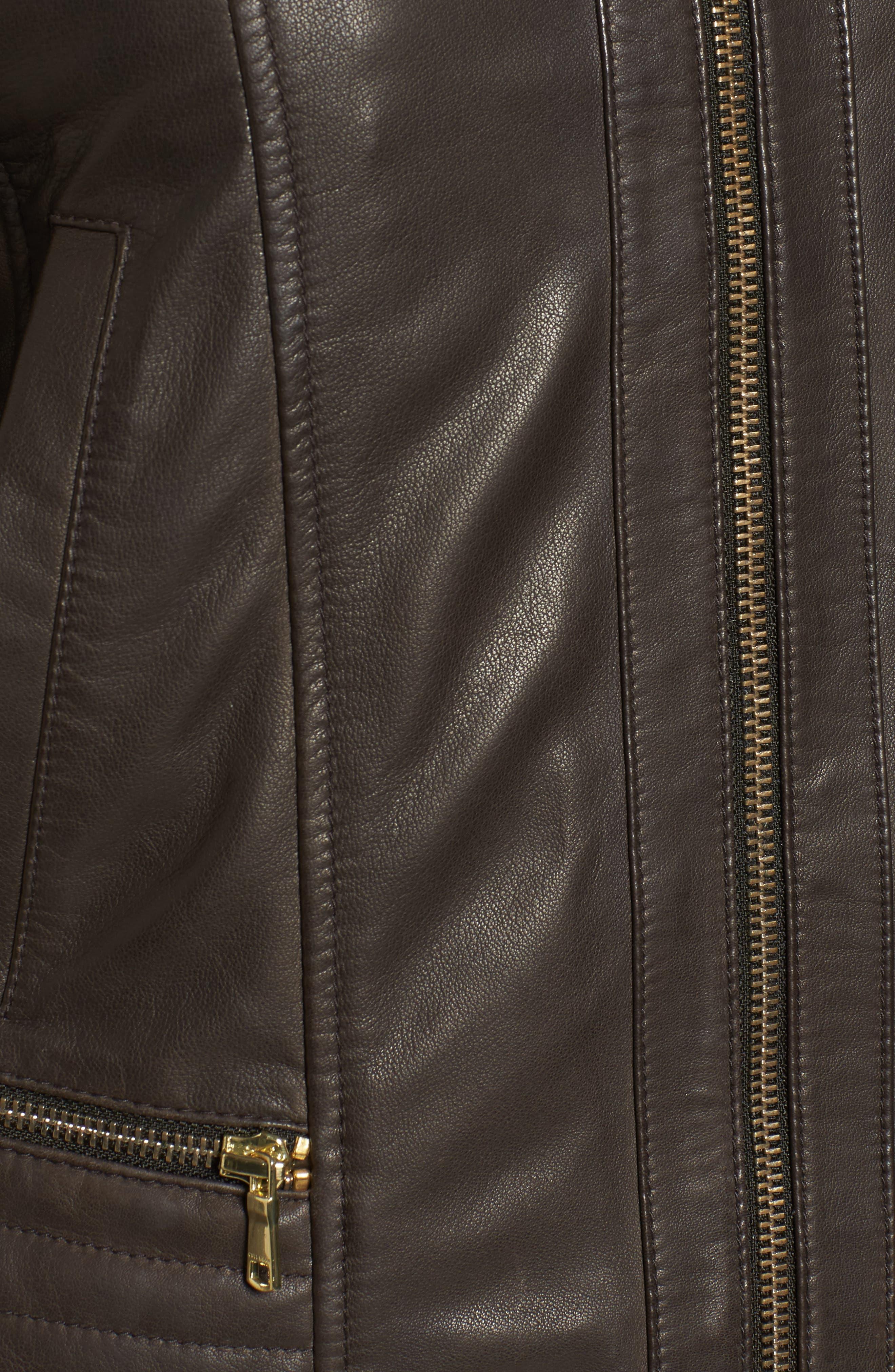 Leather Moto Jacket,                             Alternate thumbnail 5, color,                             Smoke