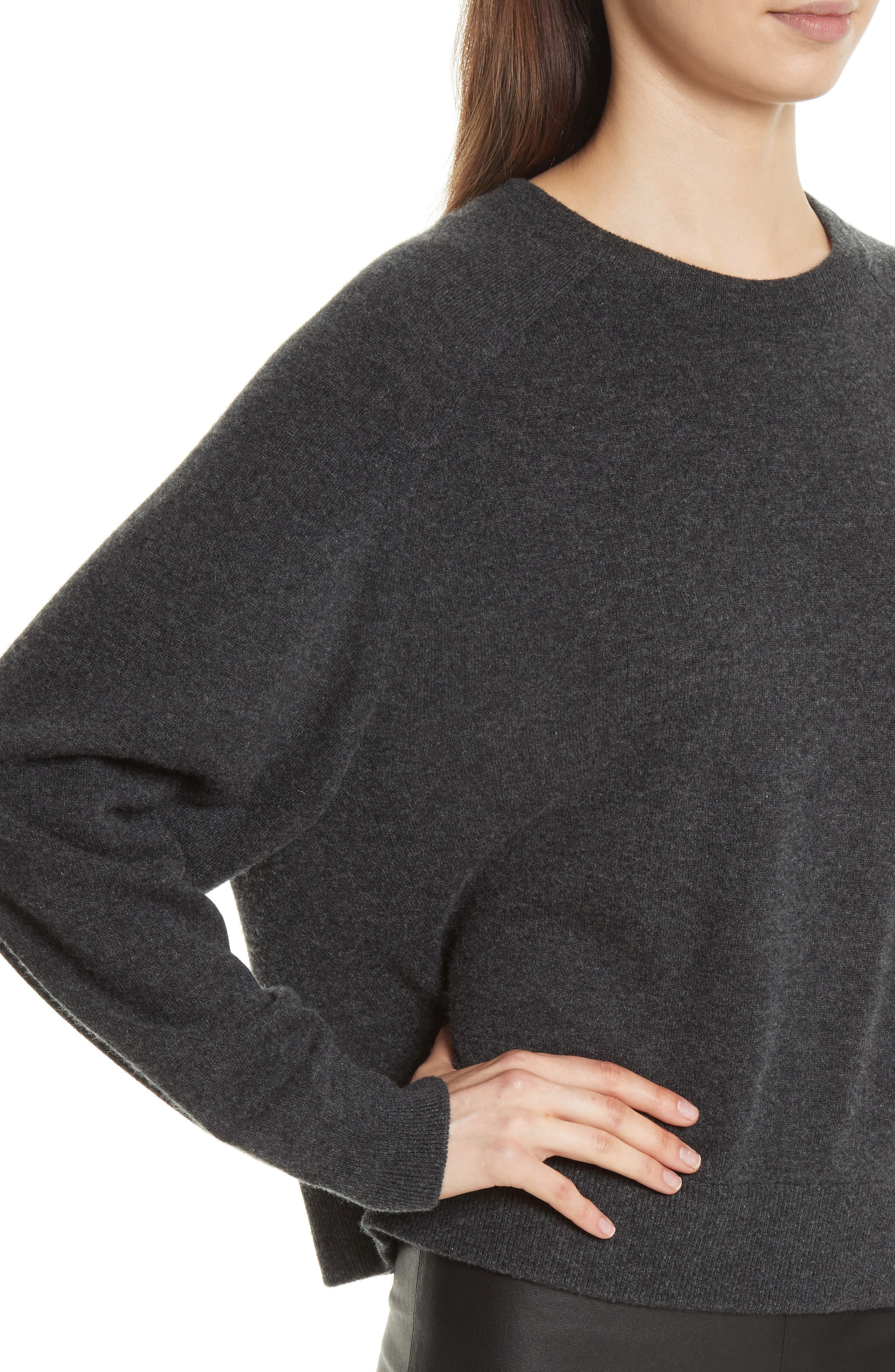 Saddle Sleeve Cashmere Sweater,                             Alternate thumbnail 4, color,                             Carbon