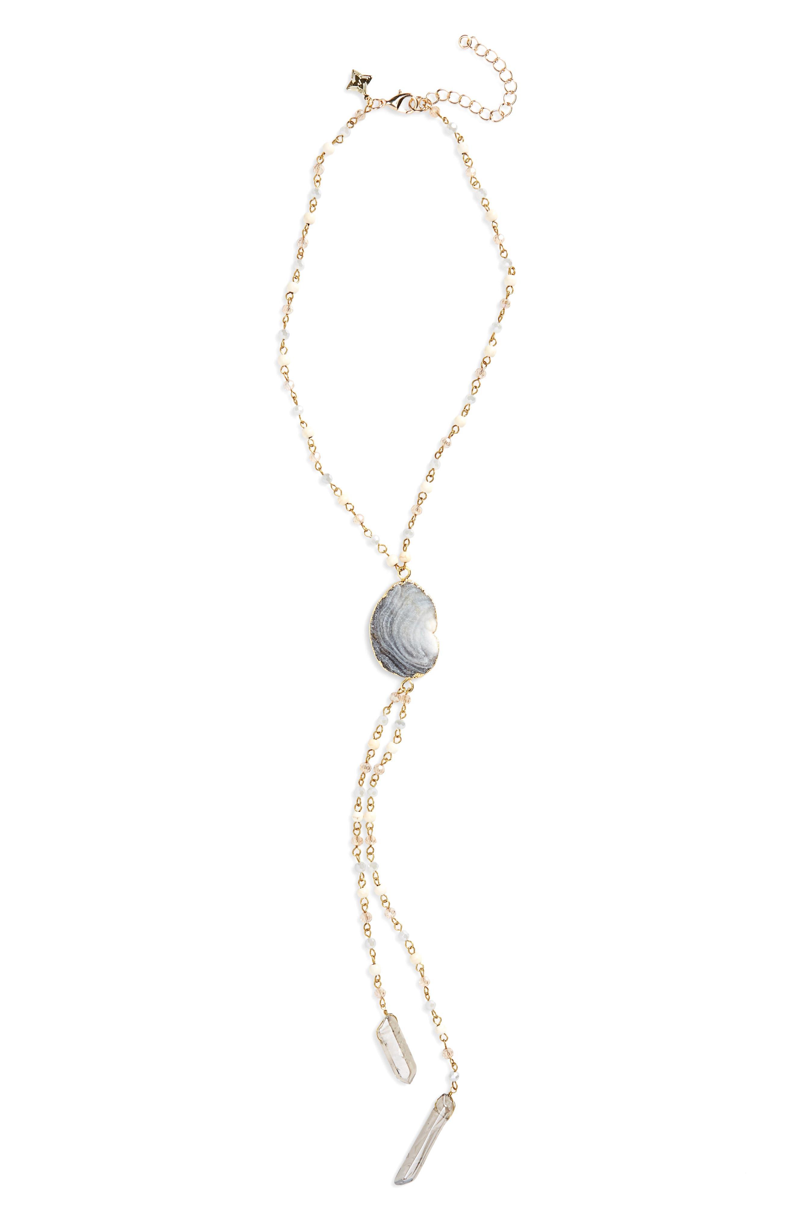 Y Necklace,                         Main,                         color, Grey/ Multi