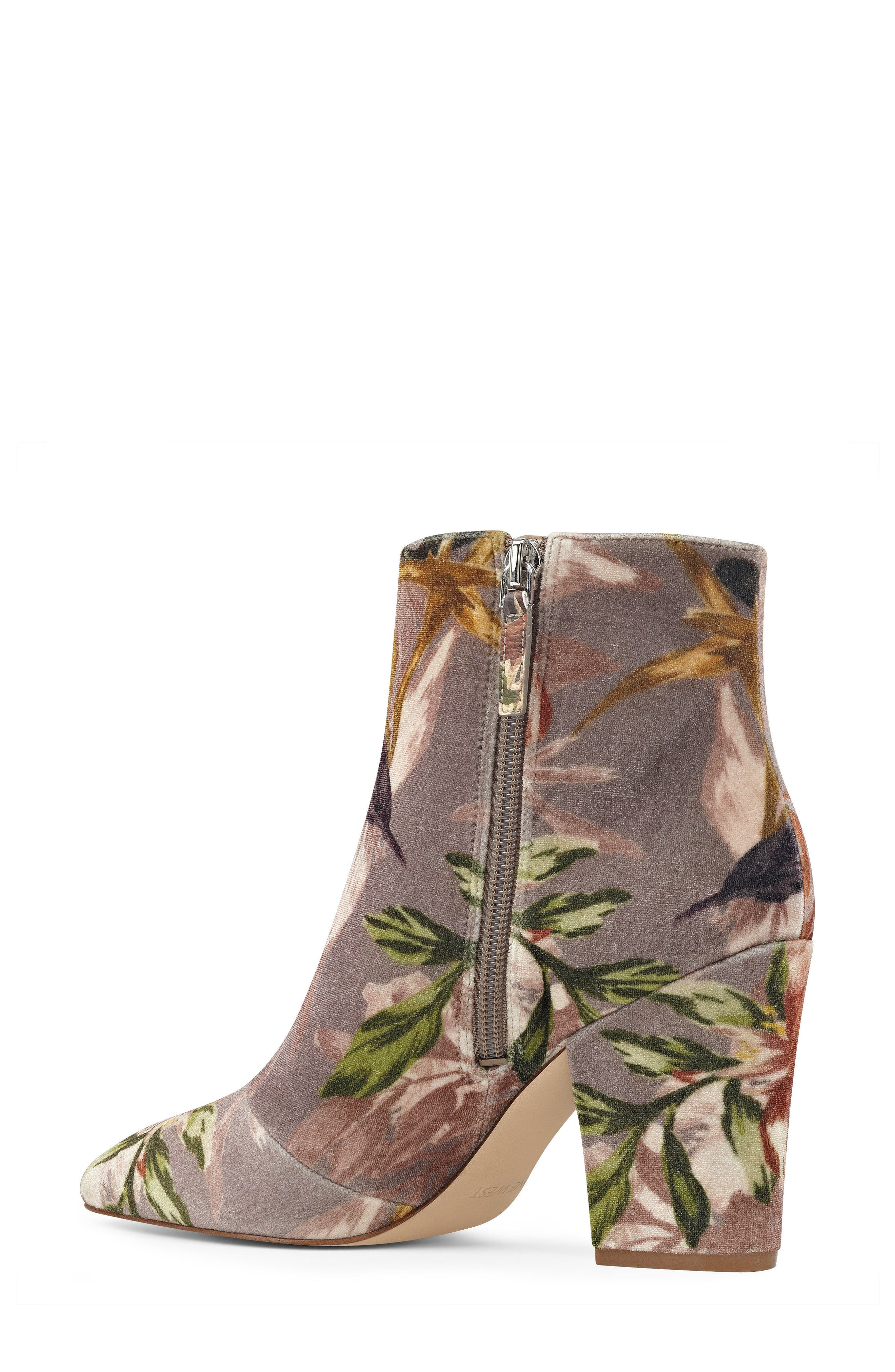 Savitra Pointy Toe Bootie,                             Alternate thumbnail 2, color,                             Taupe Multi Fabric