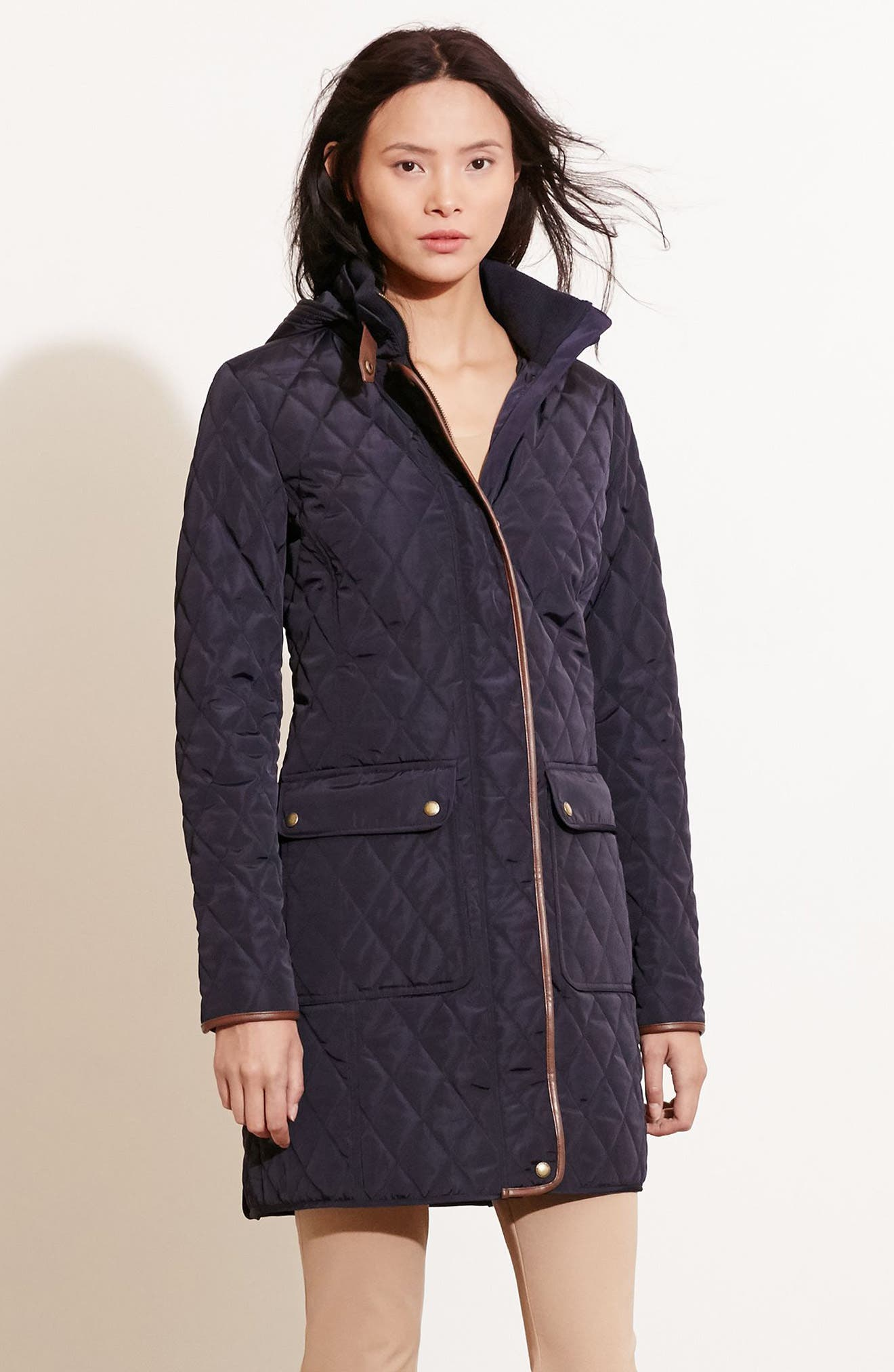 Diamond Quilted Coat with Faux Leather Trim,                             Alternate thumbnail 2, color,                             Dark Navy