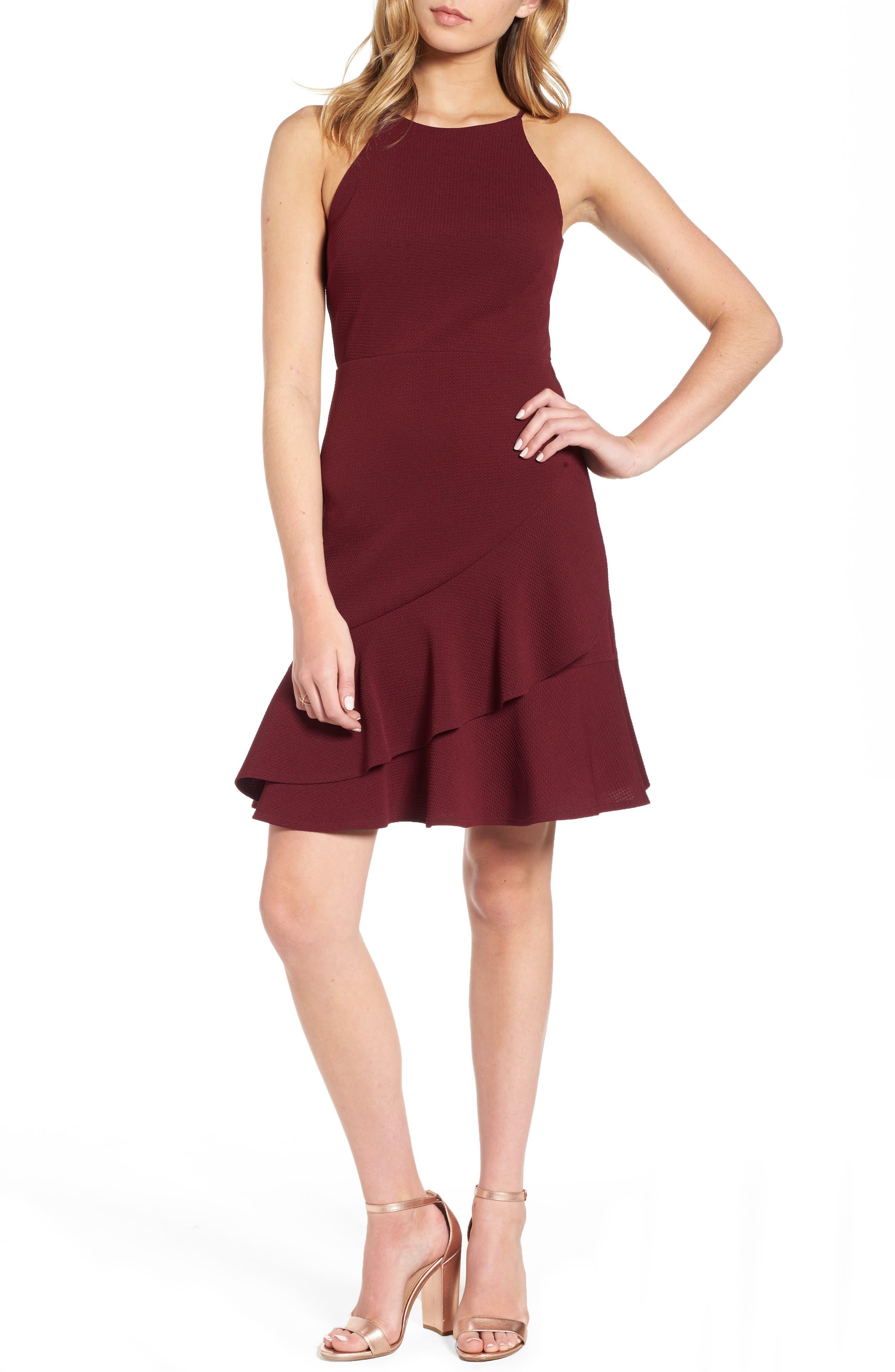Ruffle Hem Knit Dress,                         Main,                         color, Windsor Wine