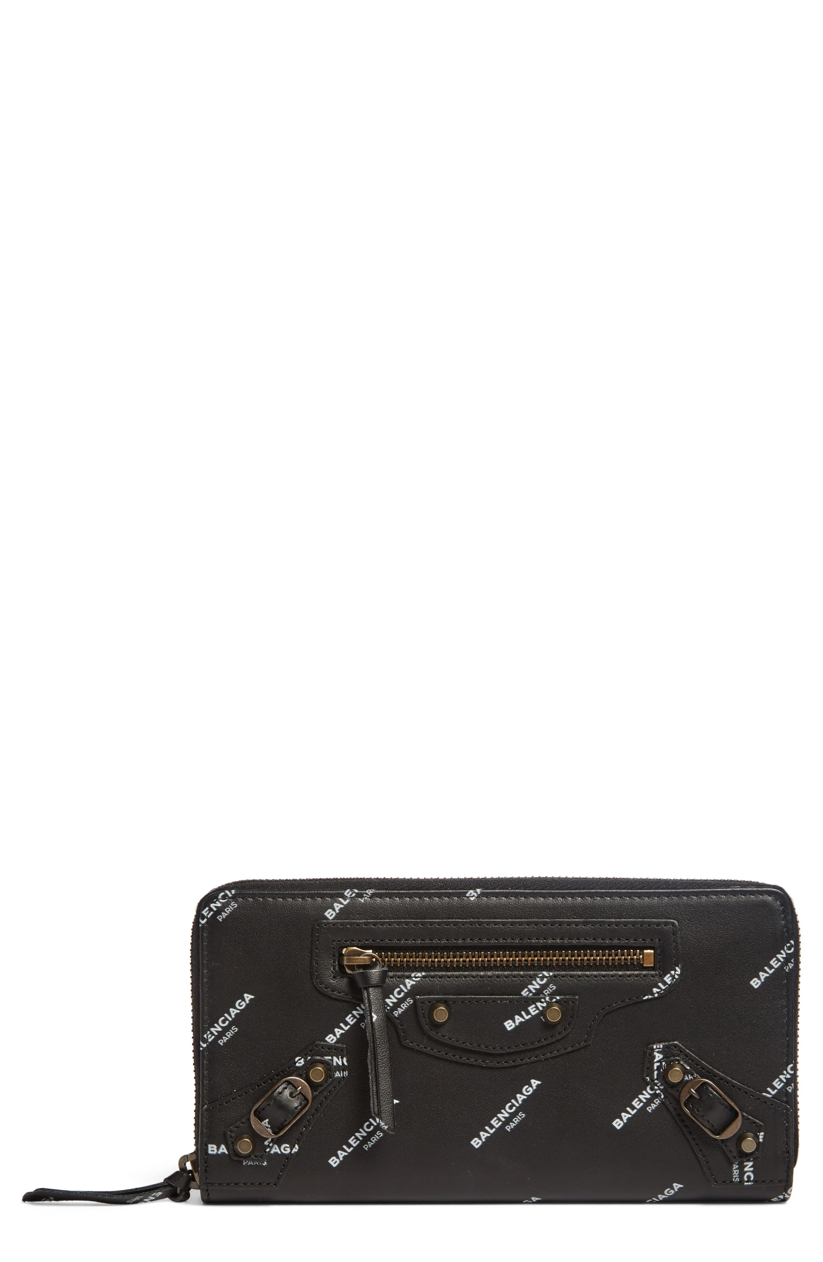 Balenciaga Classic Zip Around Leather Wallet