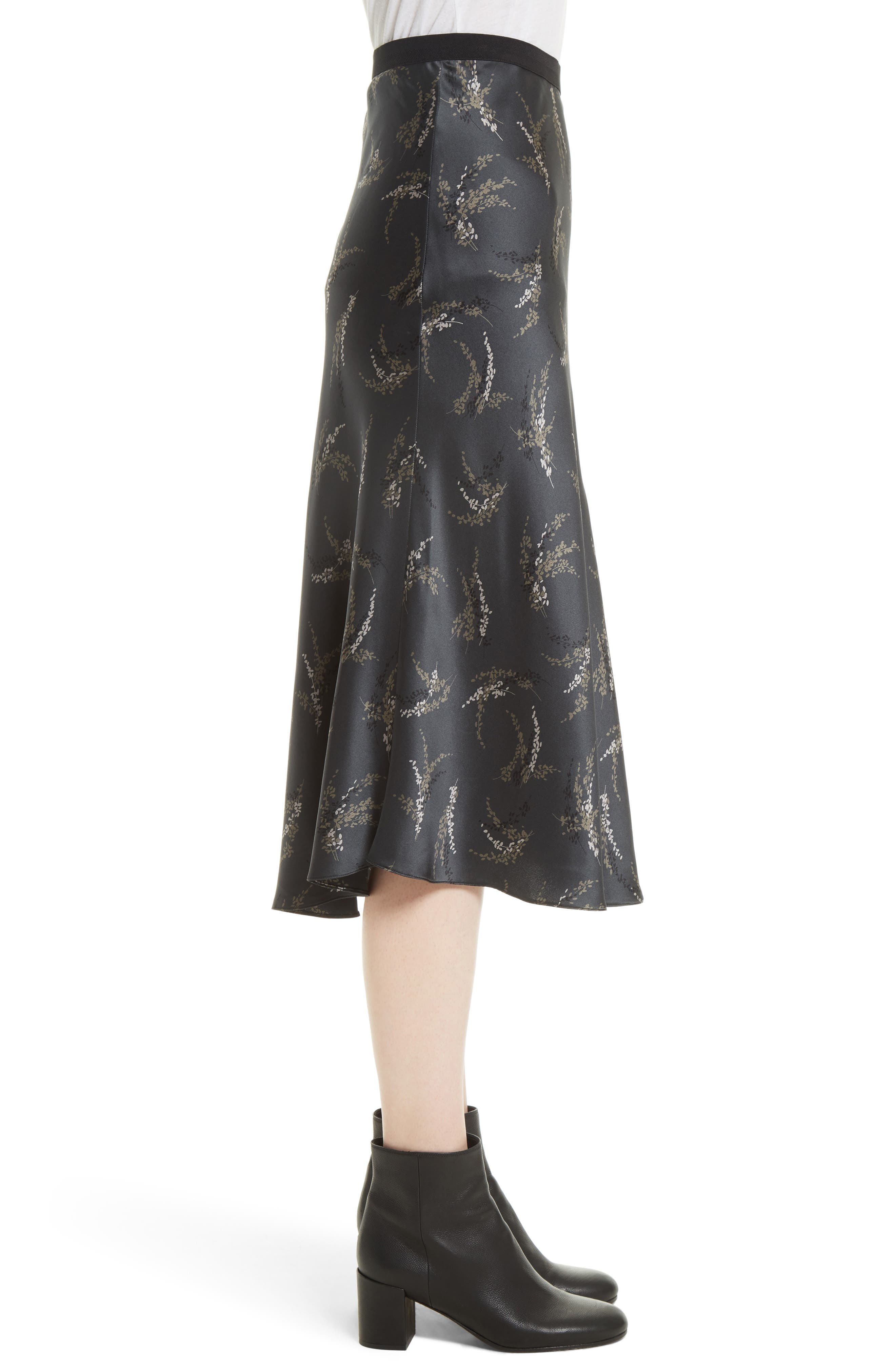 Spring Floral Pull-On Silk Midi Skirt,                             Alternate thumbnail 4, color,                             Charcoal